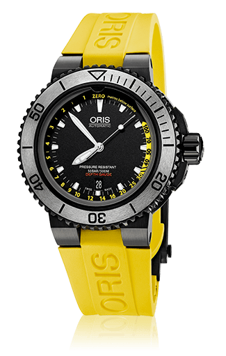 Oris Aquis Depth Gauge Black PVD/DLC Yellow Dive Watch - DePaulas