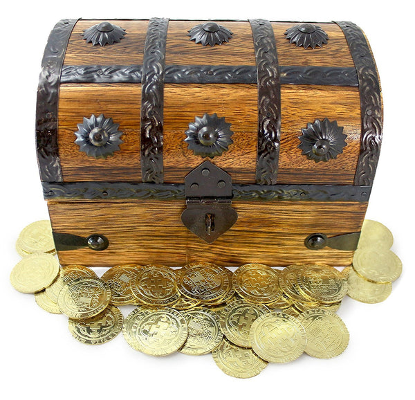 Wooden Pirate Treasure Chest Box Filled With 32 Large Gold Metal Doubloon  Coins