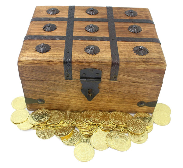 Fantastic Wooden Pirate Treasure Chest With Metal Coins Doubloons (Large  TC45