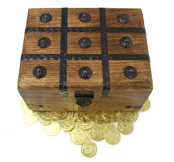 Wooden Pirate Treasure Chest With Metal Coins Doubloons (Large Chest
