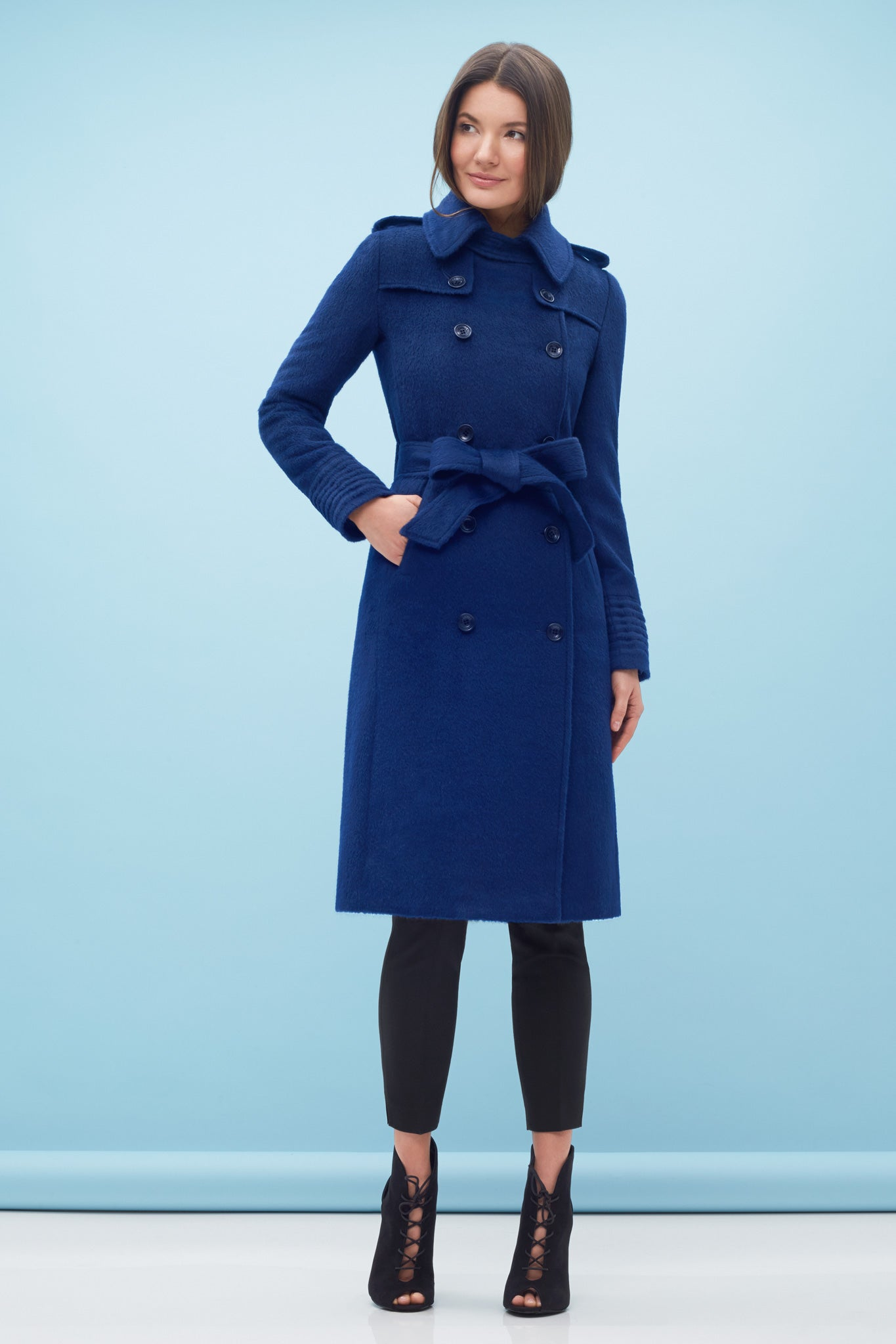 Double Breasted Trench Coat Classic Blue