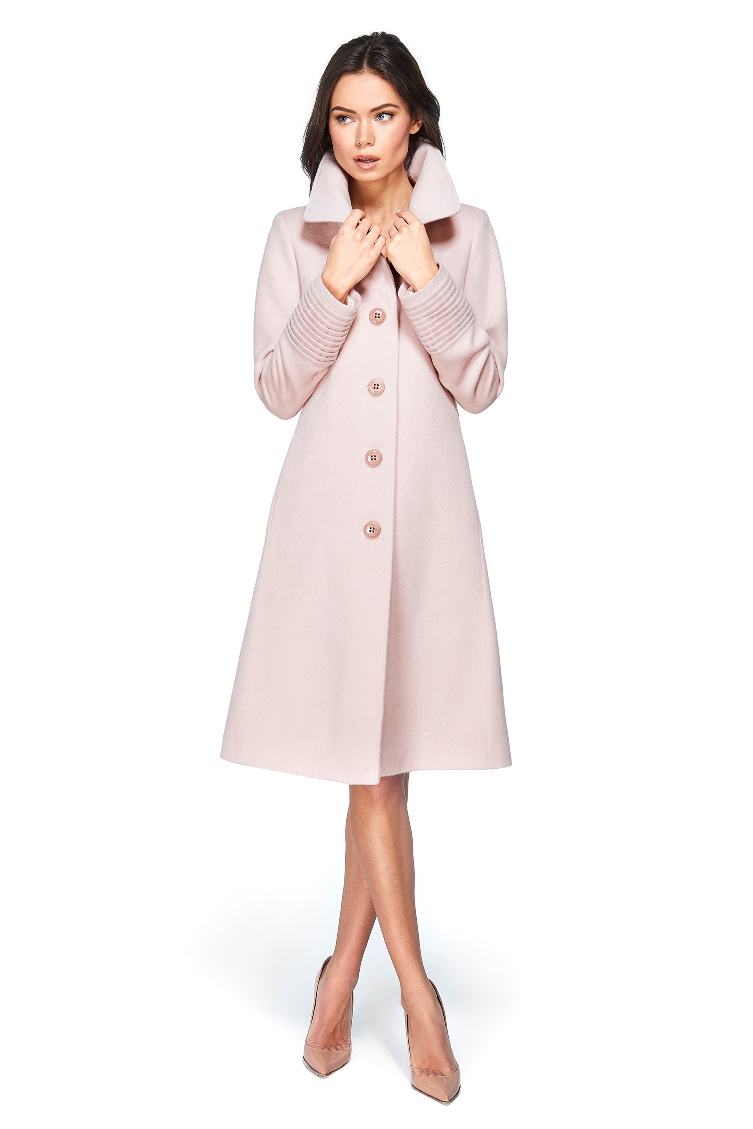 Fitted Coat with Buttons Blush