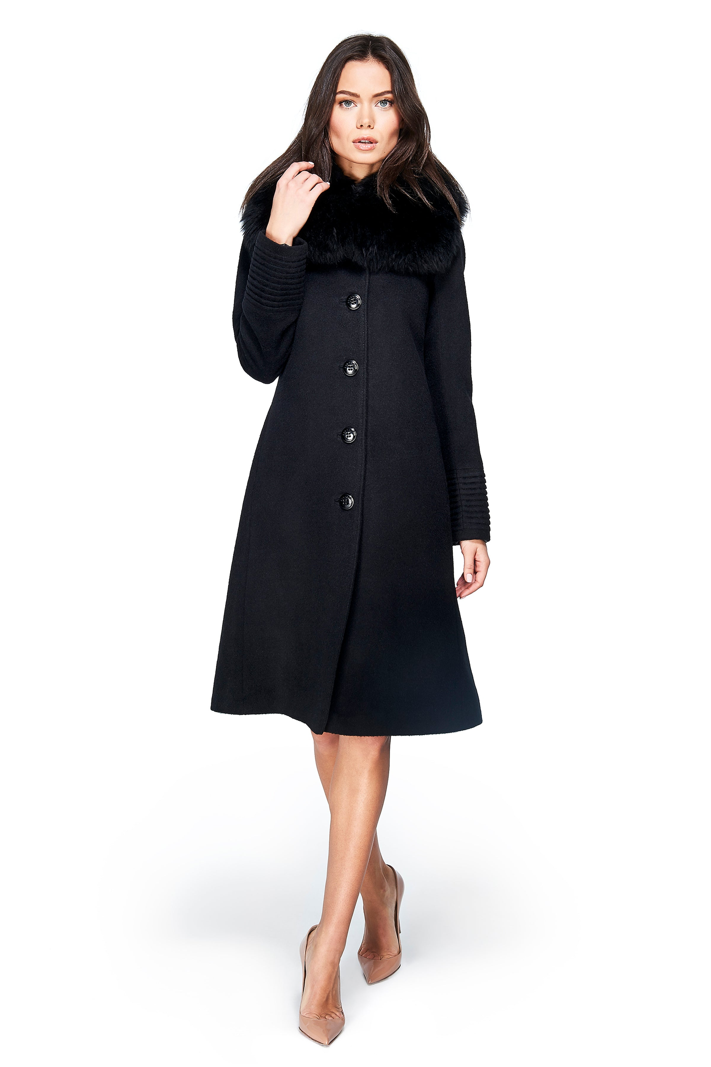 Fitted Coat with Buttons and Fur Collar Black