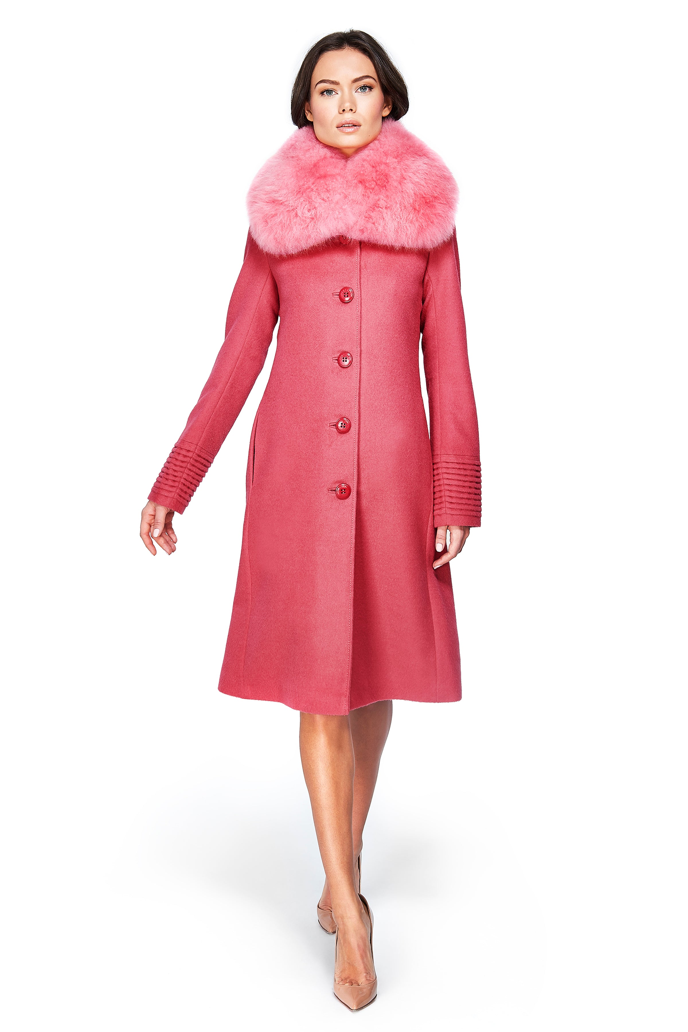 Fitted Coat with Buttons and Fur Collar Tourmaline Pink