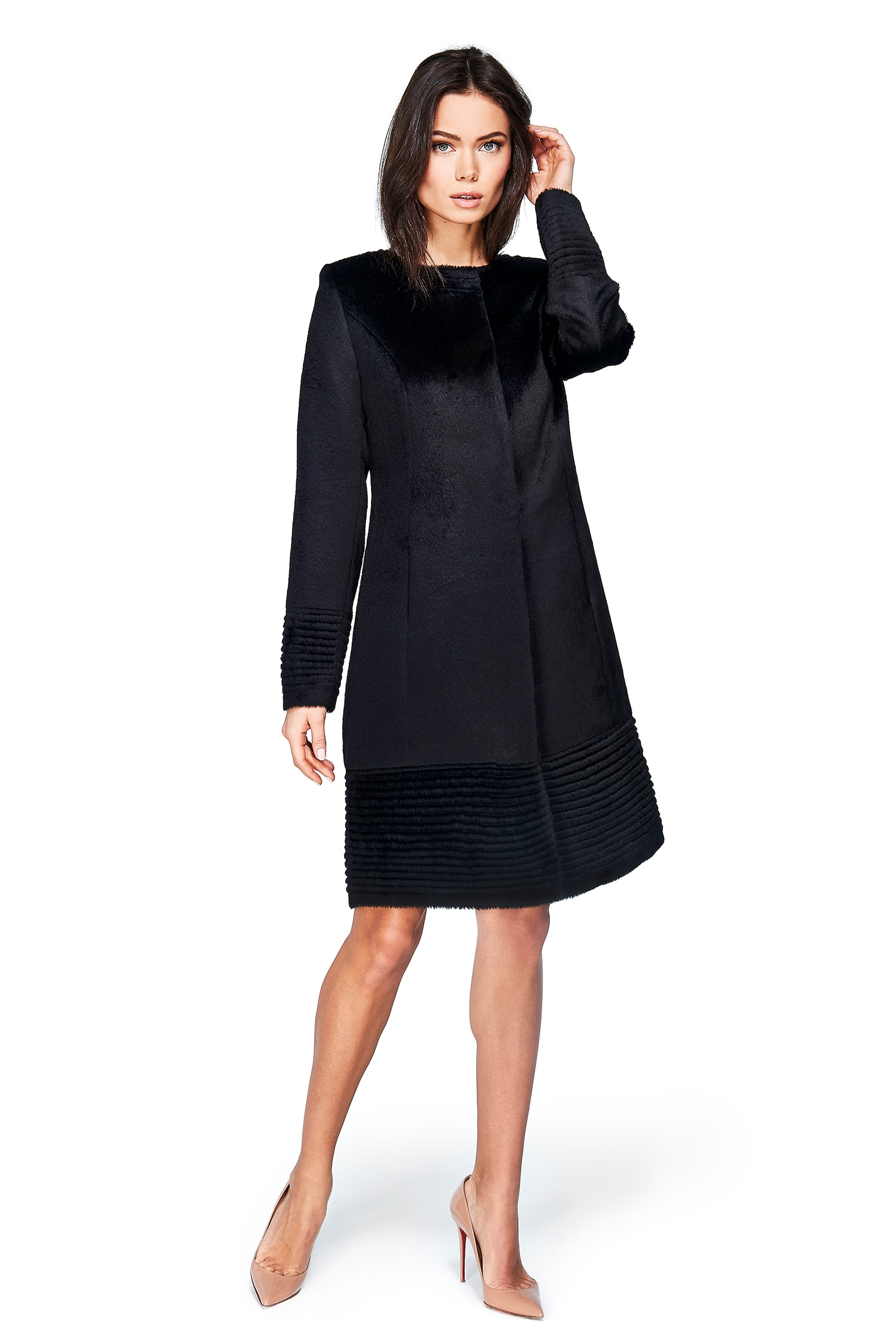 Fitted Coat with Ribbed Bottom Black