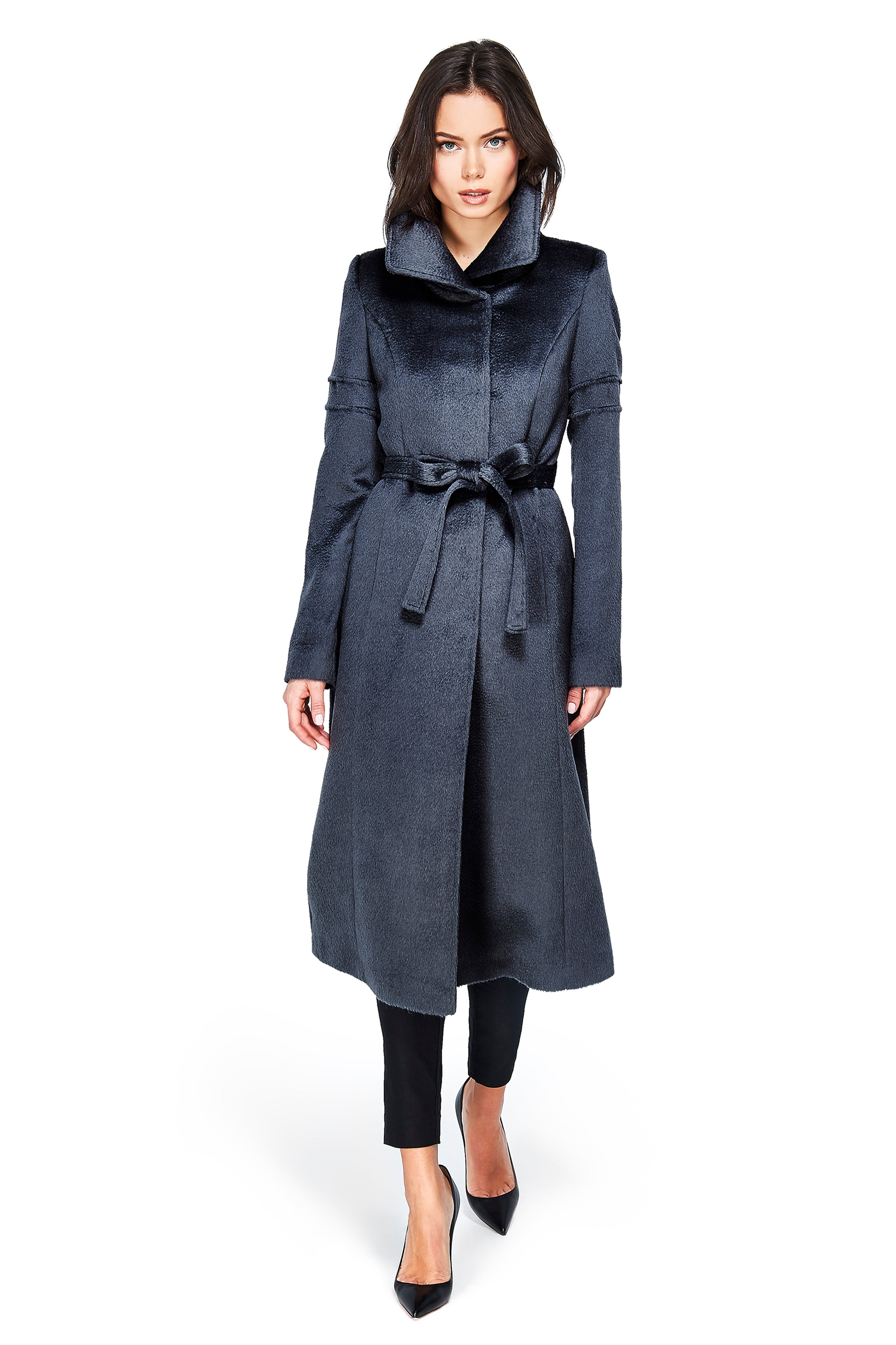 Long Fitted Coat with Tie Charcoal Grey