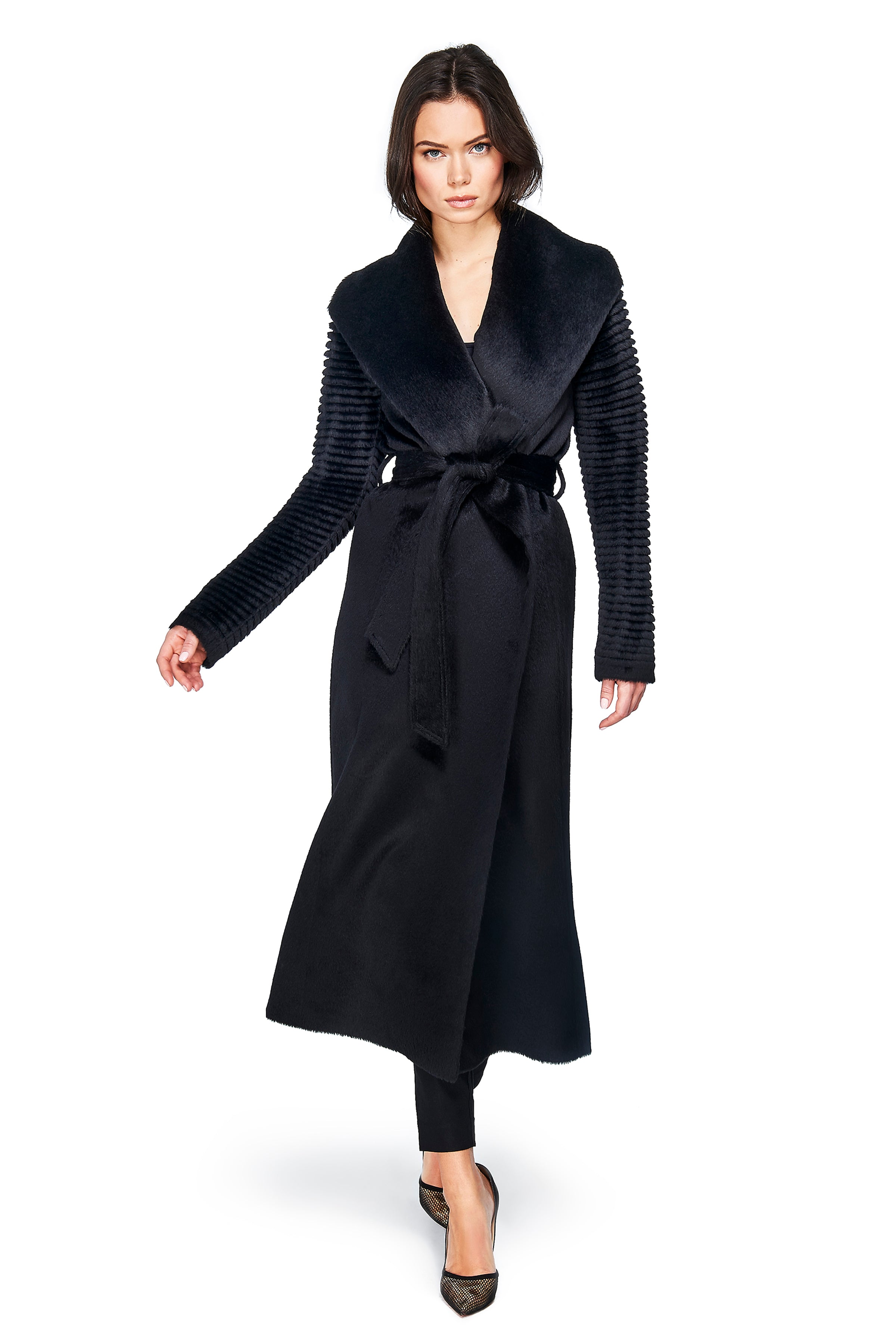 Long Wrap Coat with Ribbed Sleeves Black