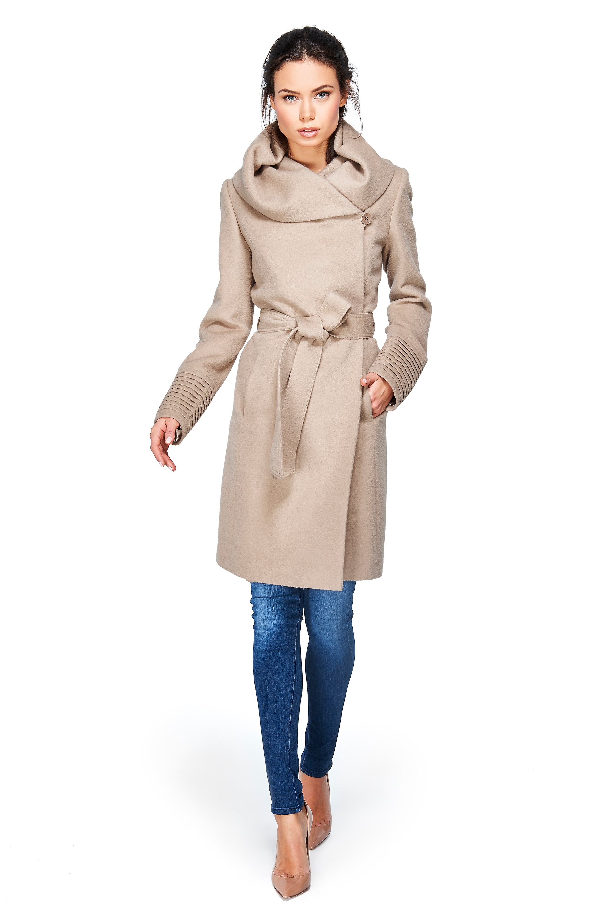 Mid Length Hooded Wrap Coat Camel