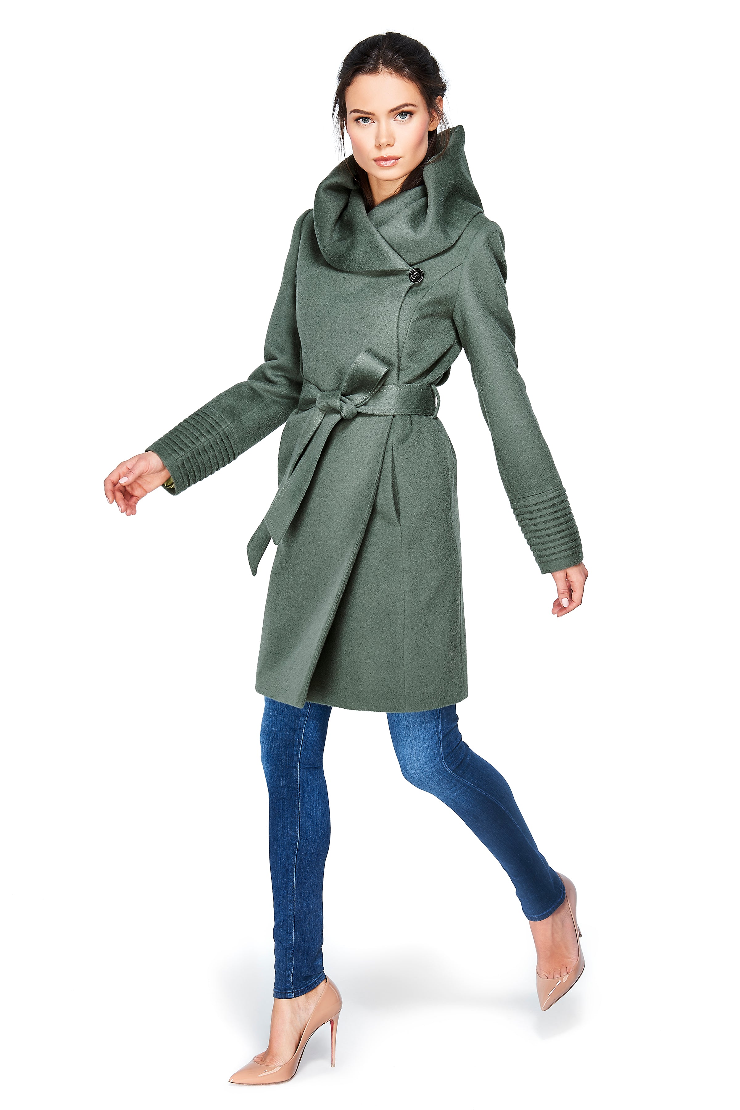 Mid Length Hooded Wrap Coat Sage Green