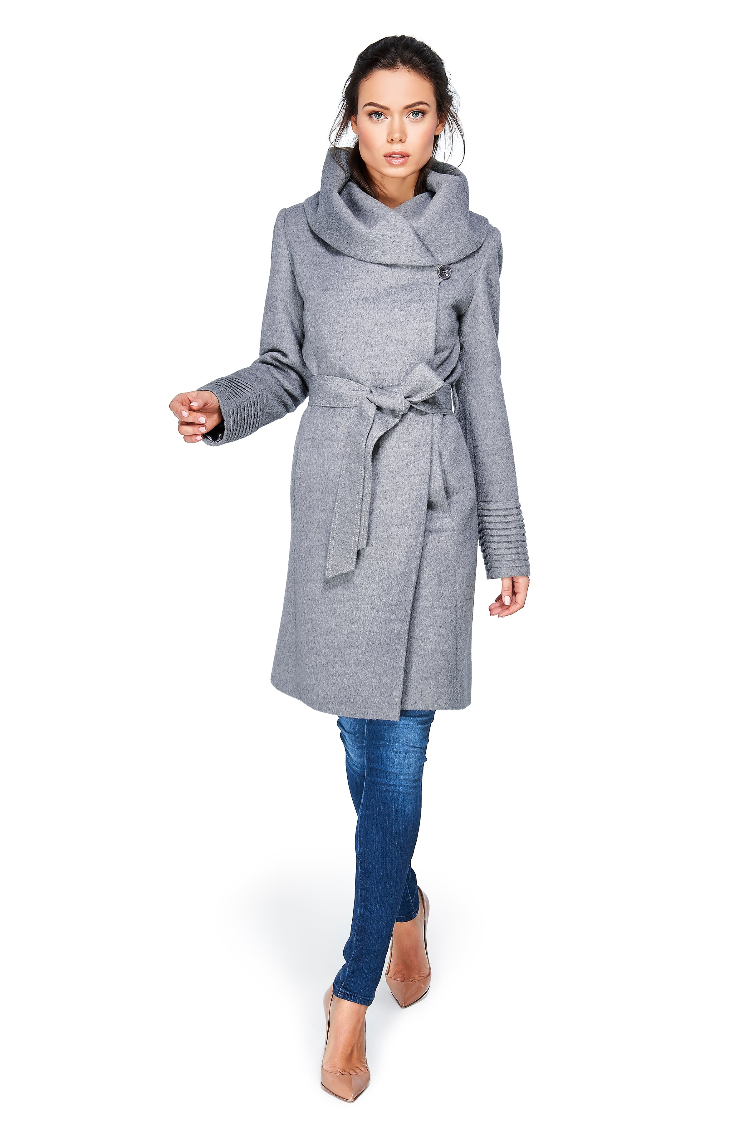 Mid Length Hooded Wrap Coat Shale Grey