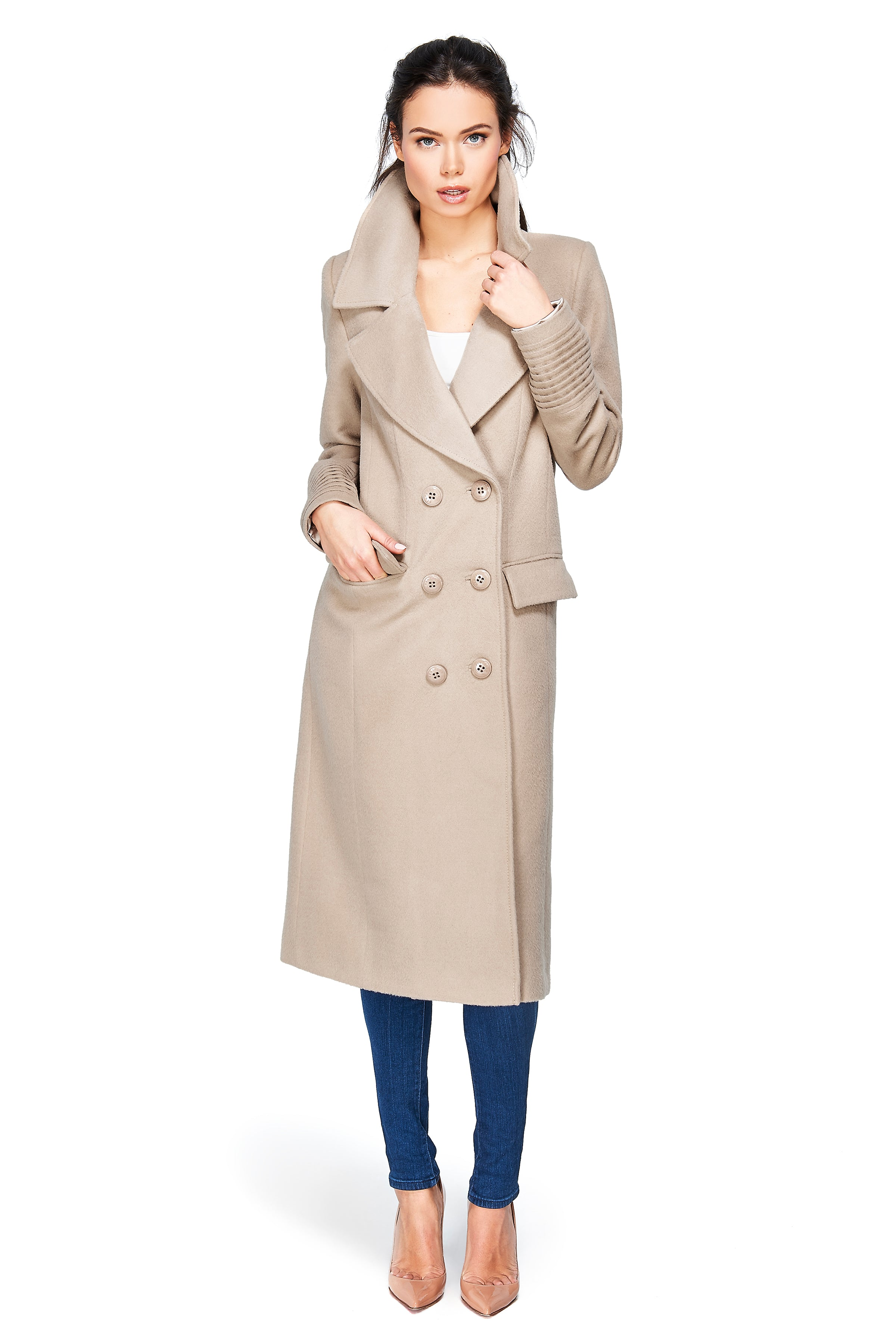 Notched Collar Double Breasted Coat Camel