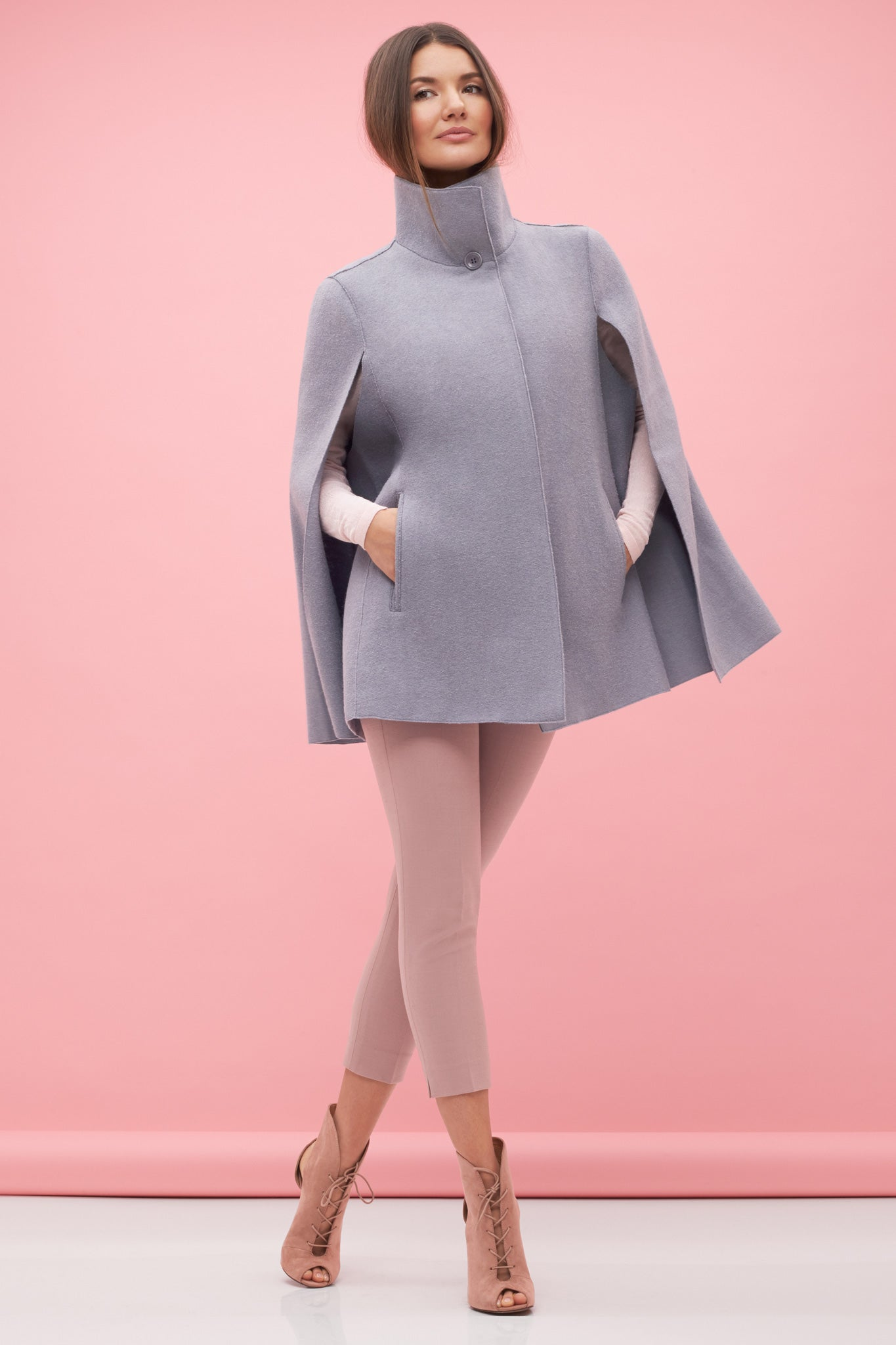 Stand Collar Cape Grey
