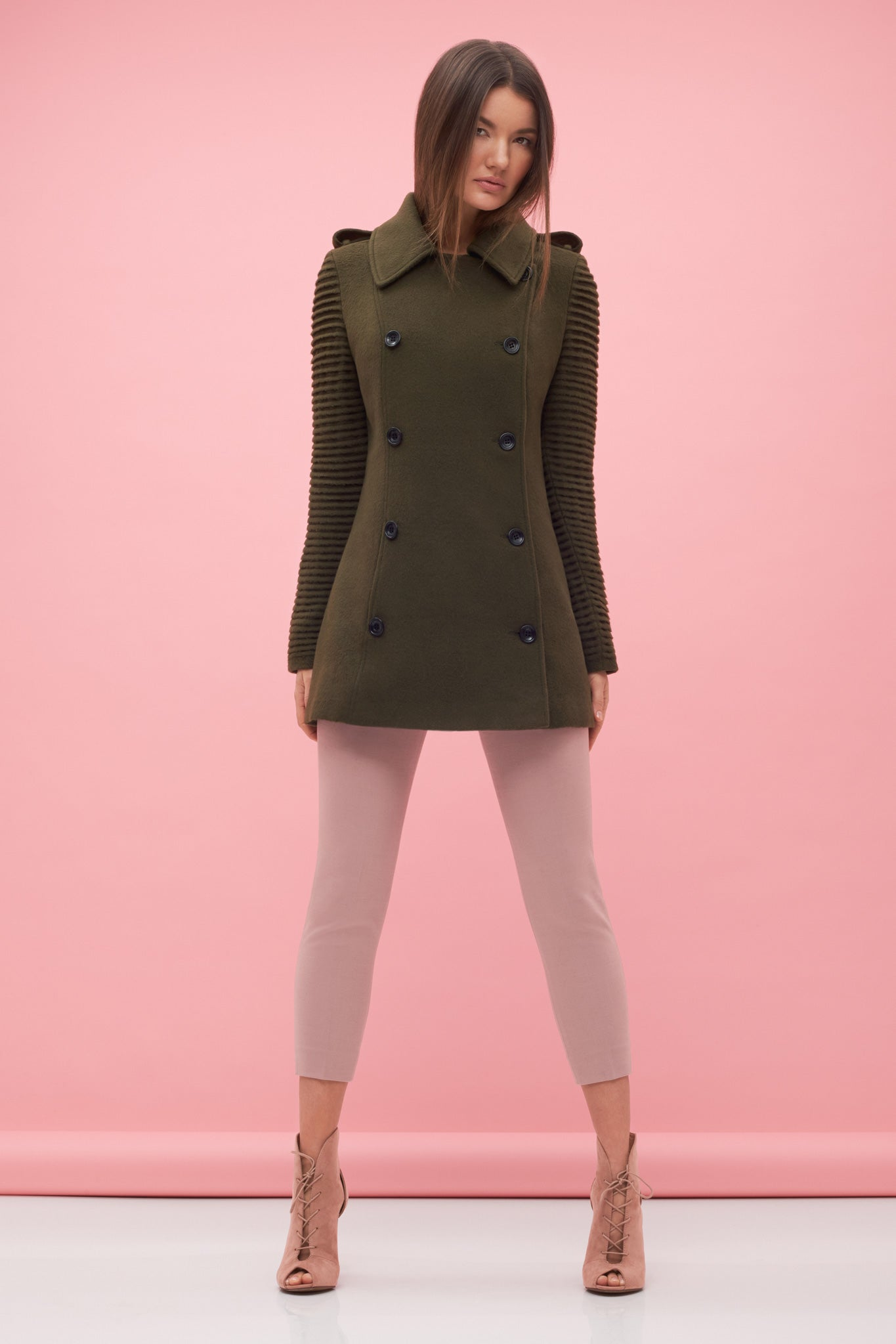 Pea Coat with Ribbed Sleeves Green