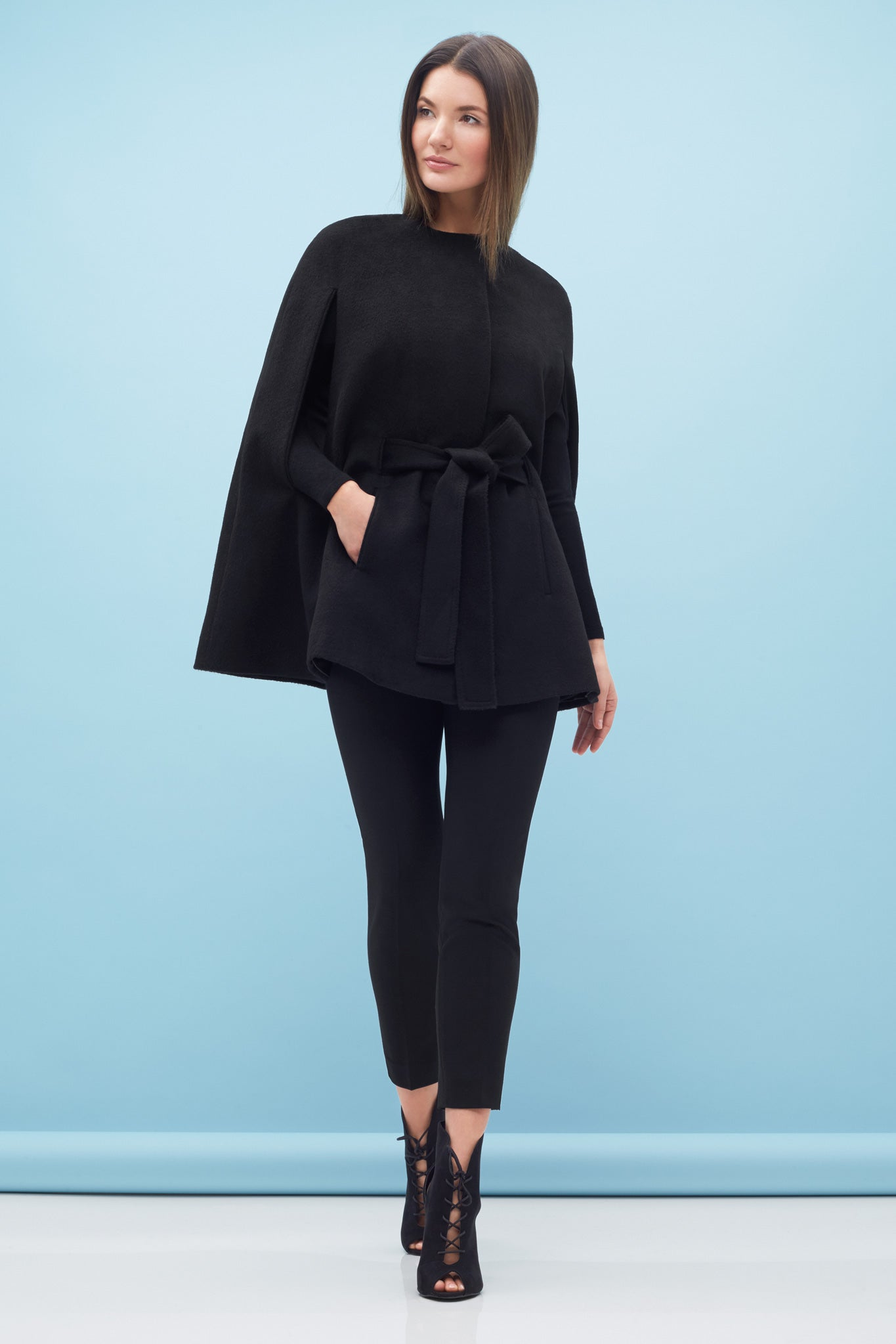 Round Neck Cape Black