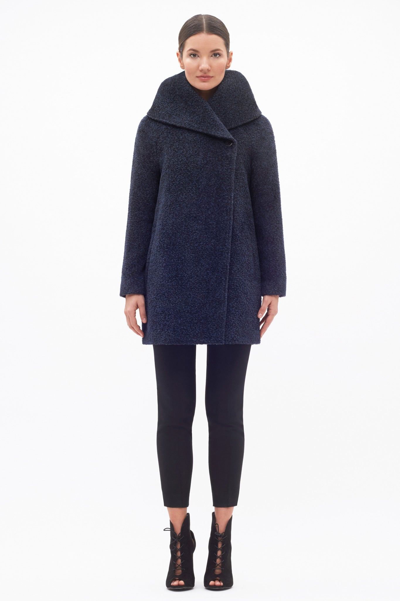 Hooded Straight Cut Coat Midnight