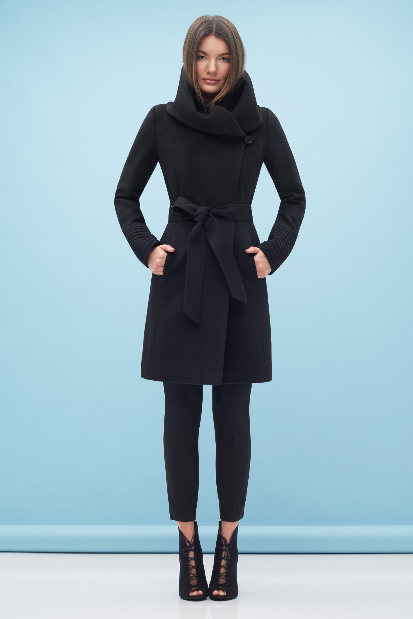 Mid Length Hooded Wrap Coat Black