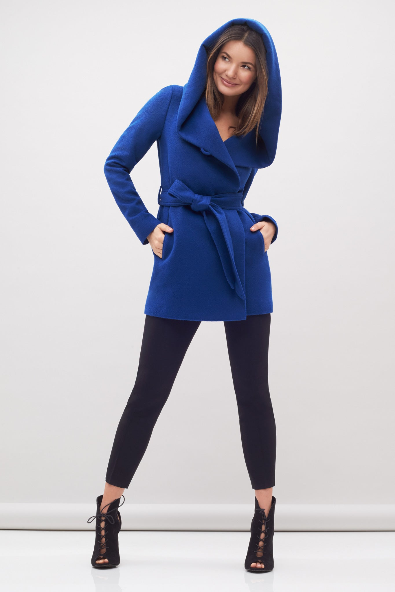 Hooded Wrap Coat Blue
