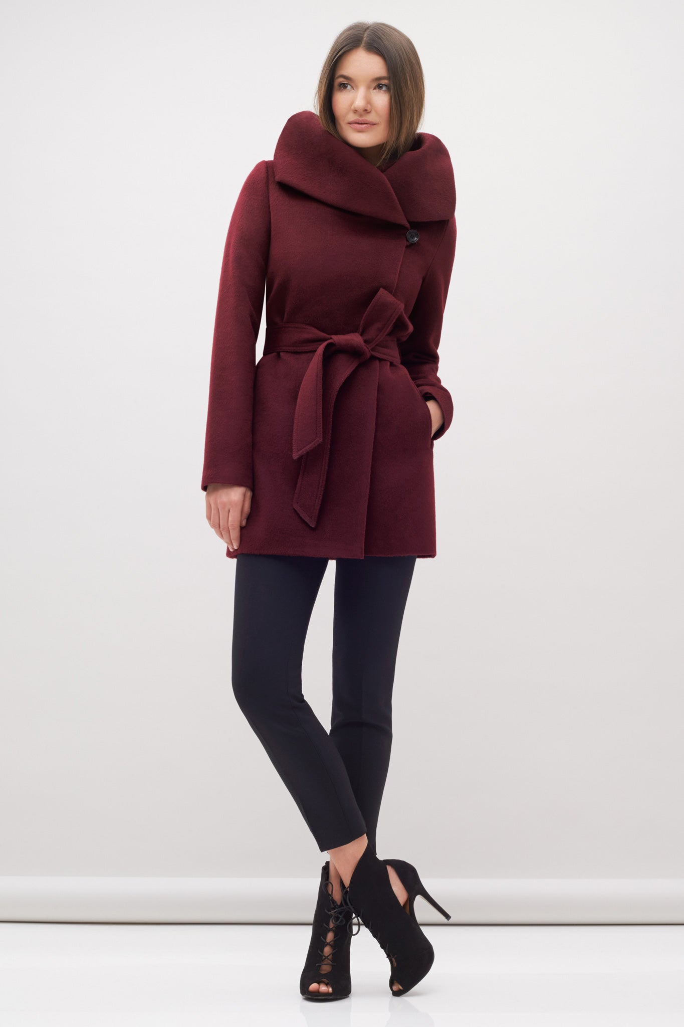 Hooded Wrap Coat Burgandy