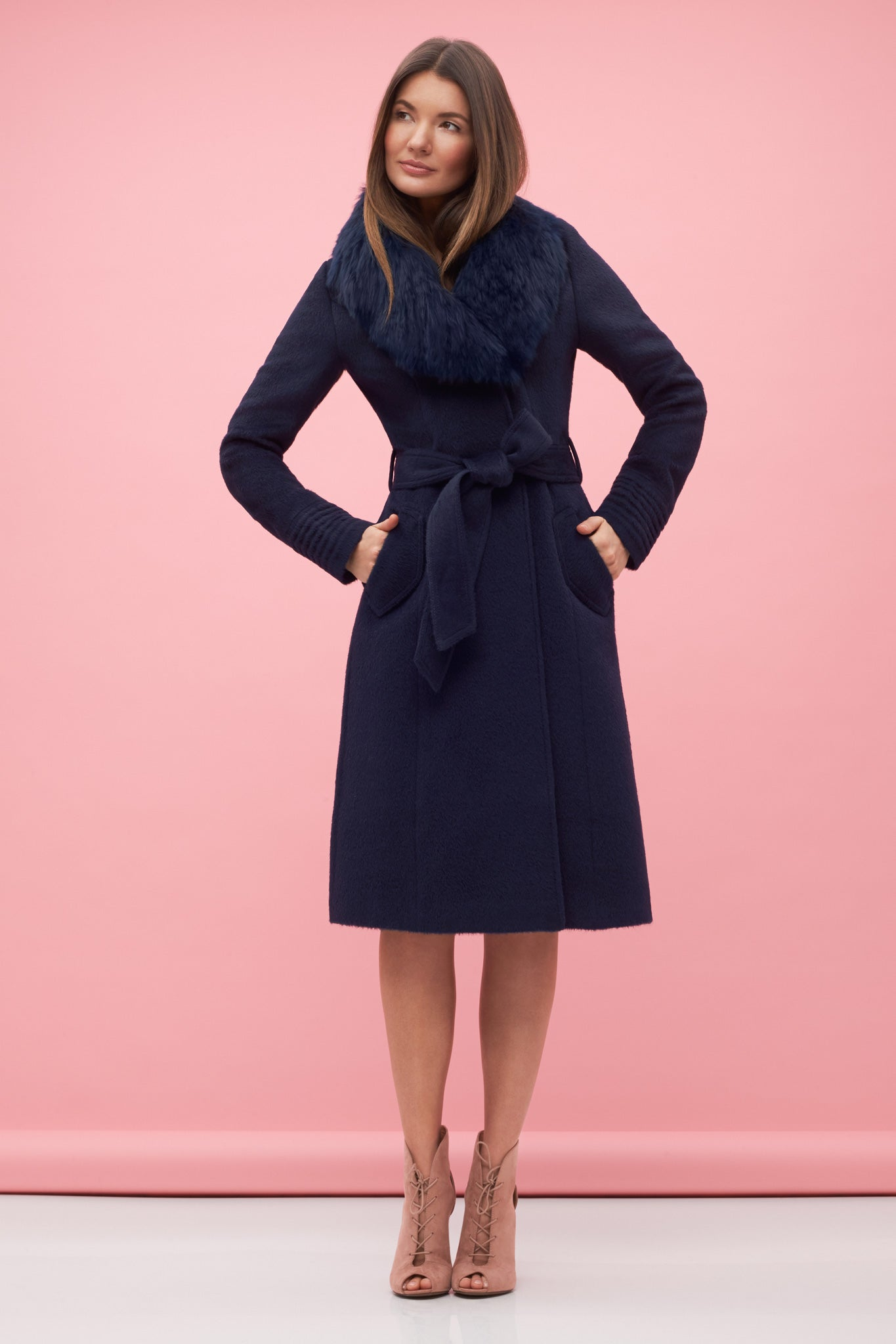 Long Coat with Fur Collar Navy