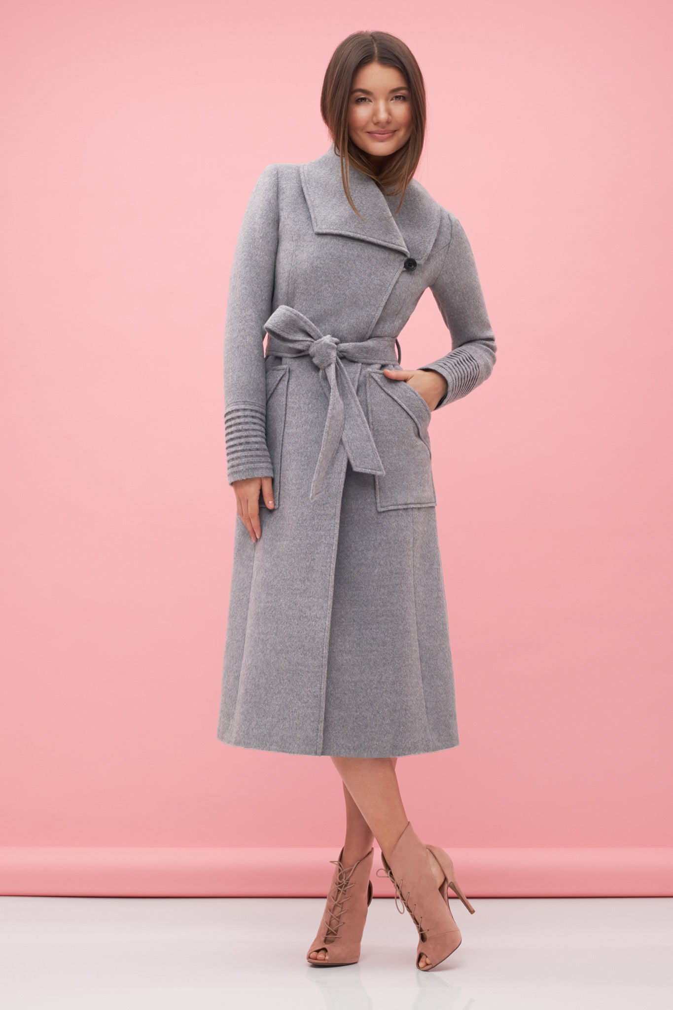 Long Wide Collar Wrap Coat Shale Grey