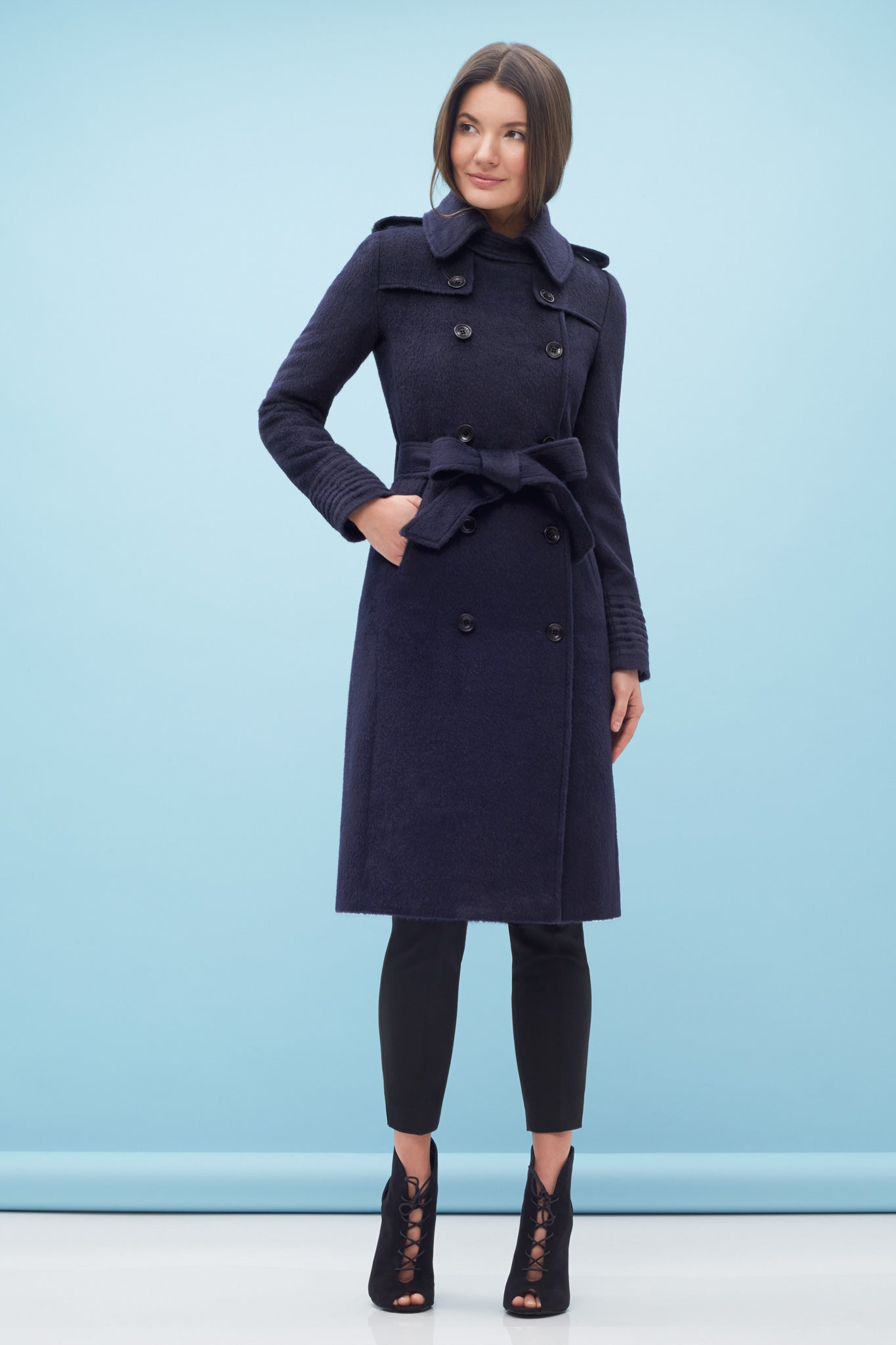 Double Breasted Trench Coat Navy