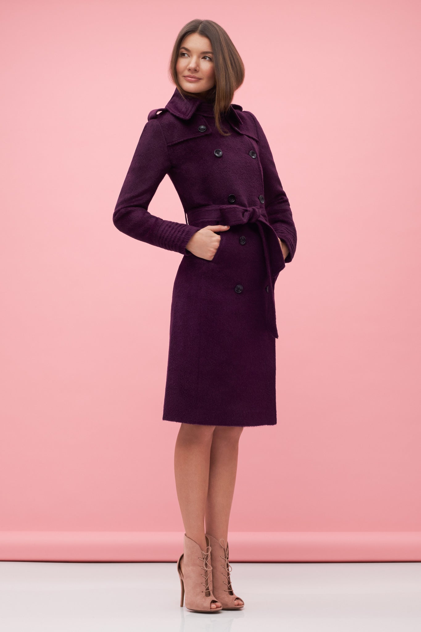 Double Breasted Trench Coat Mulberry