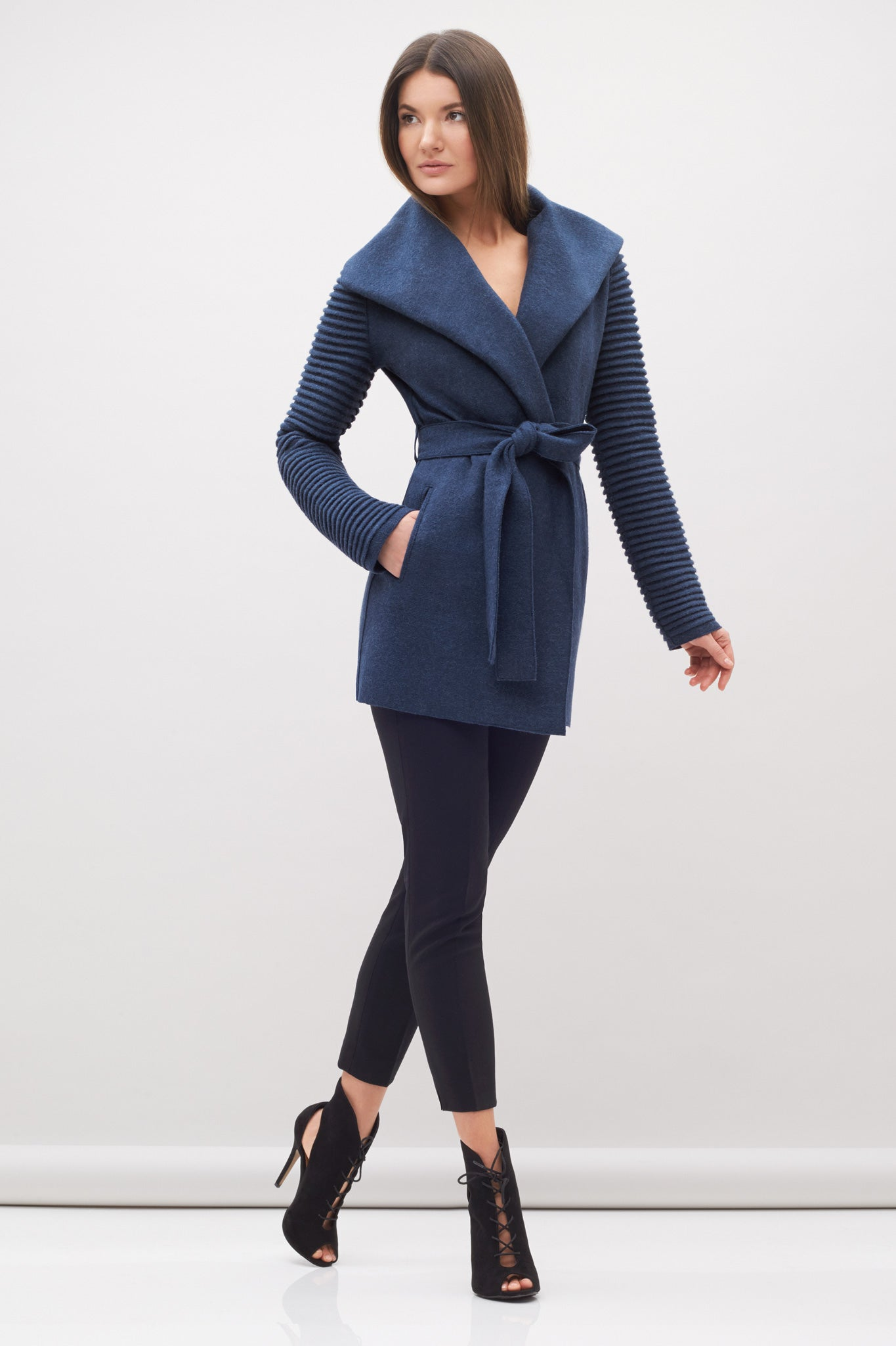 Wrap Coat with Ribbed Sleeves Denim