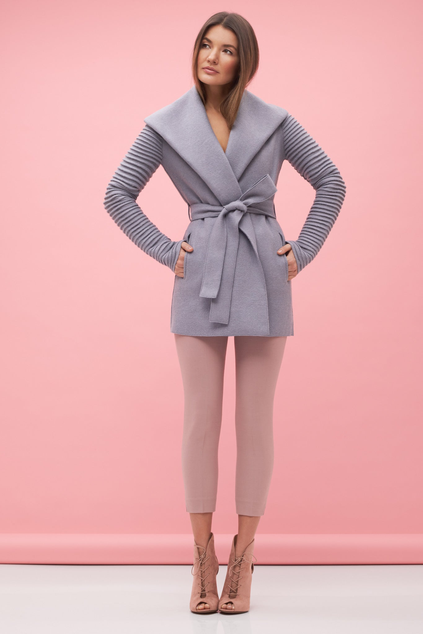 Wrap Coat with Ribbed Sleeves Grey
