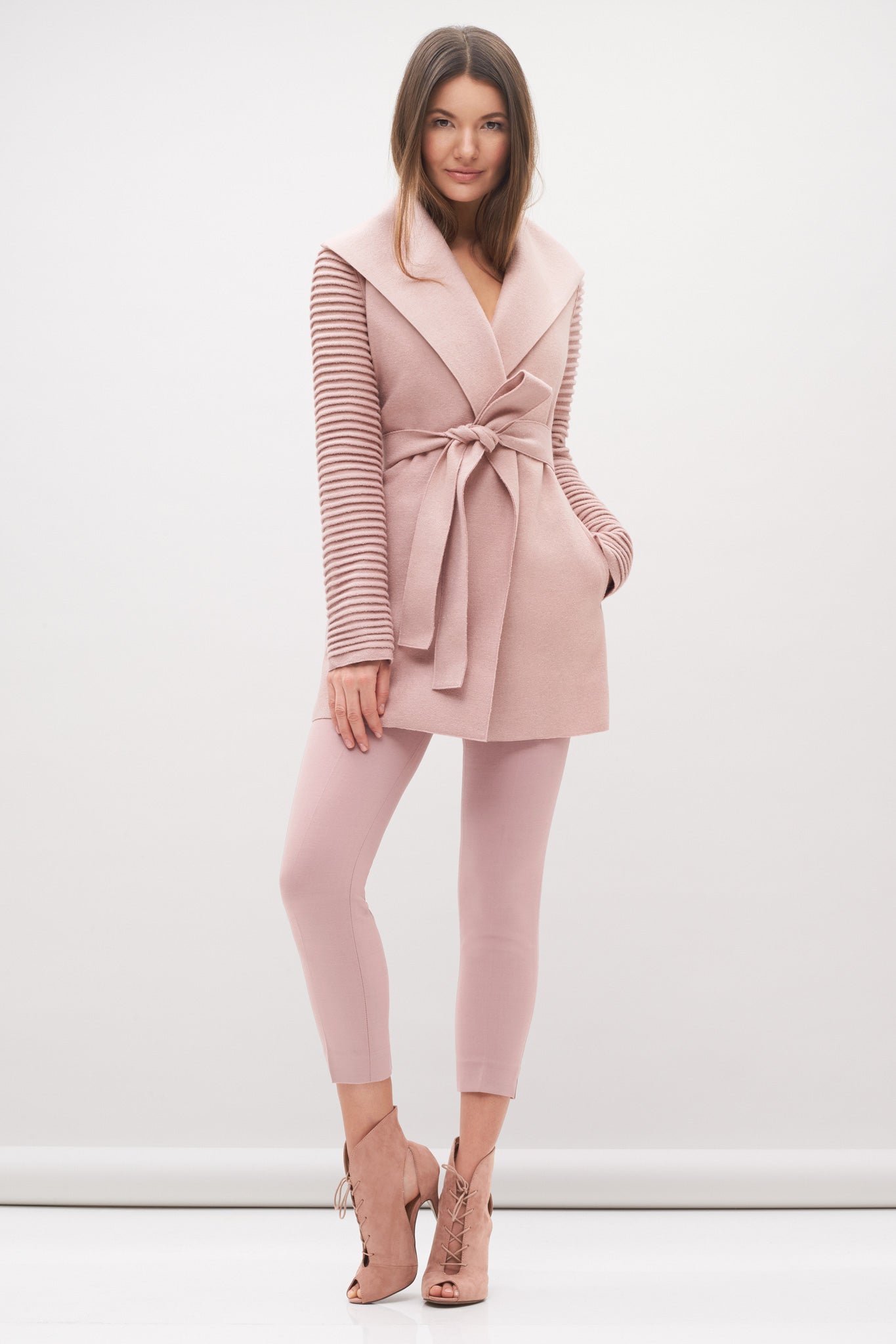 Wrap Coat with Ribbed Sleeves Rose Quartz