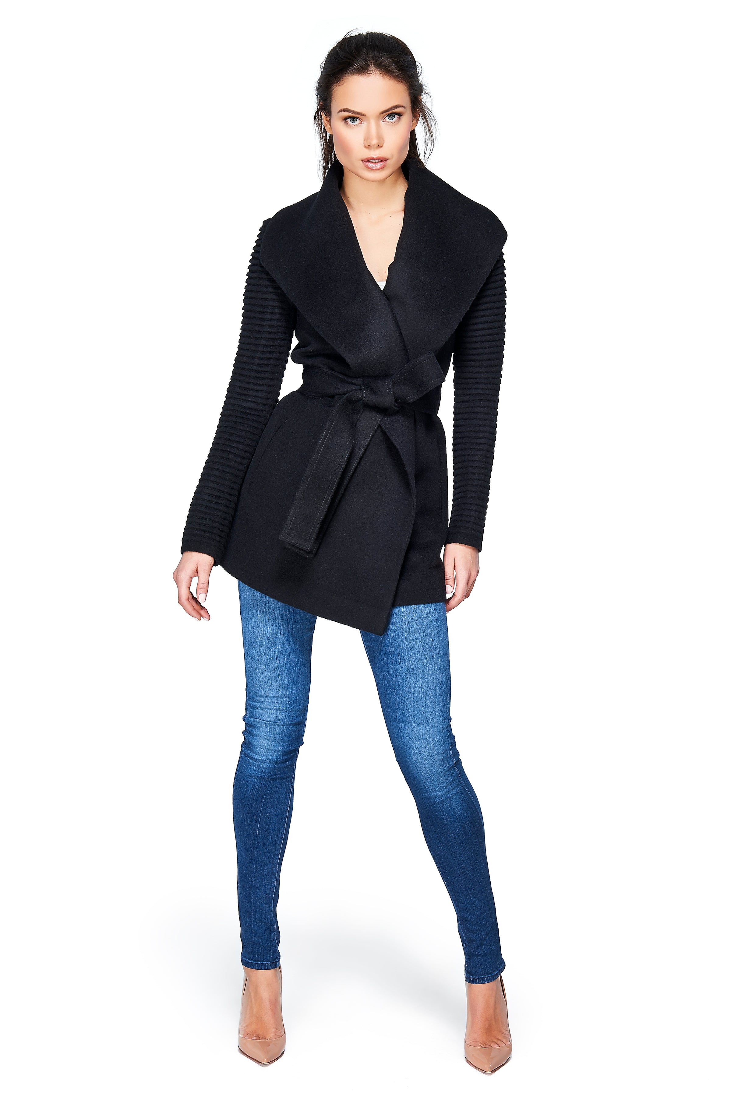Shawl Collar Wrap Coat with Ribbed Sleeves Black