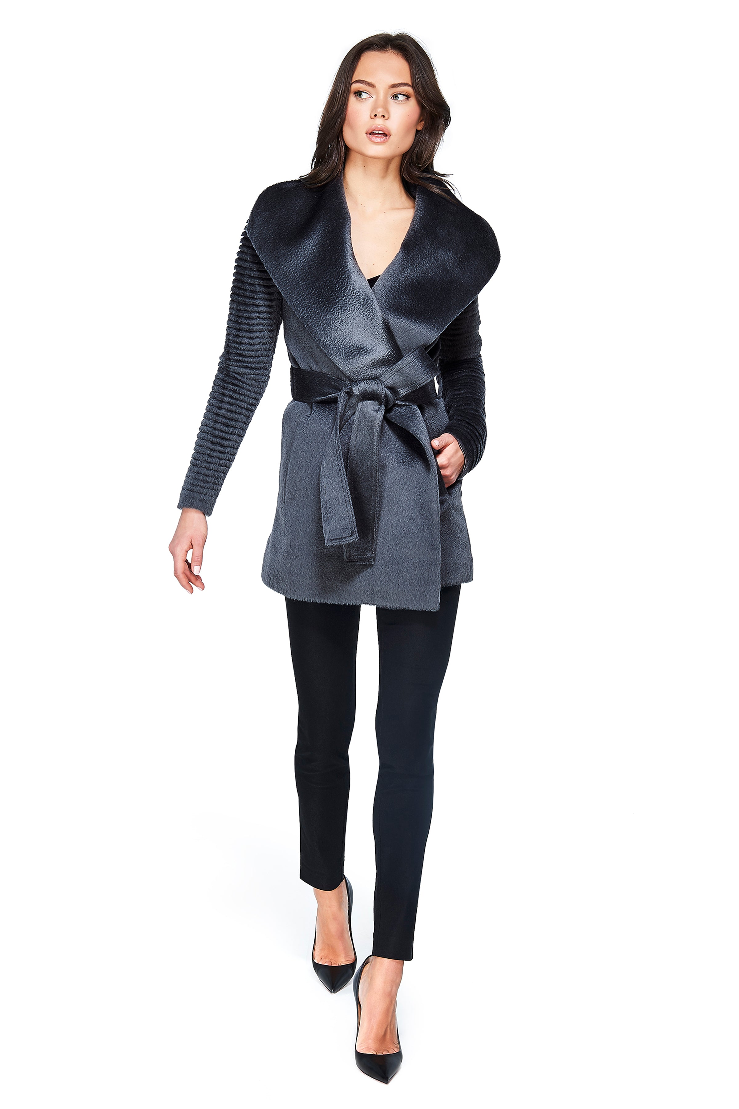 Shawl Collar Wrap Coat with Ribbed Sleeves Charcoal Grey