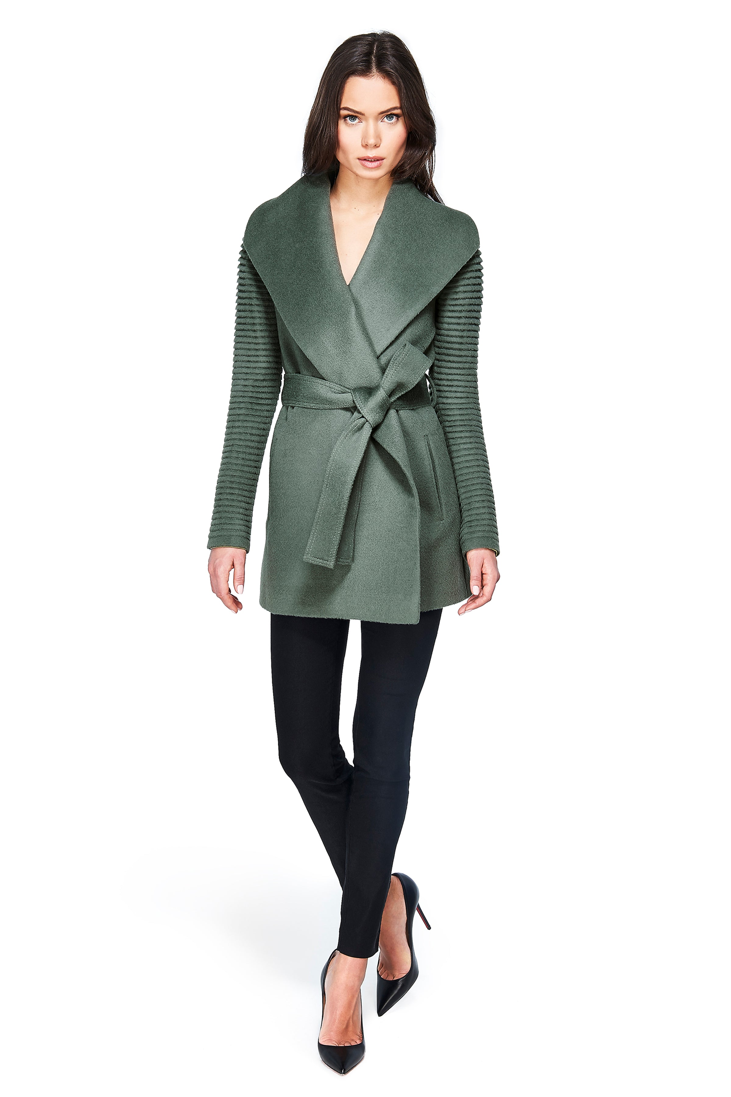 Shawl Collar Wrap Coat with Ribbed Sleeves Sage Green