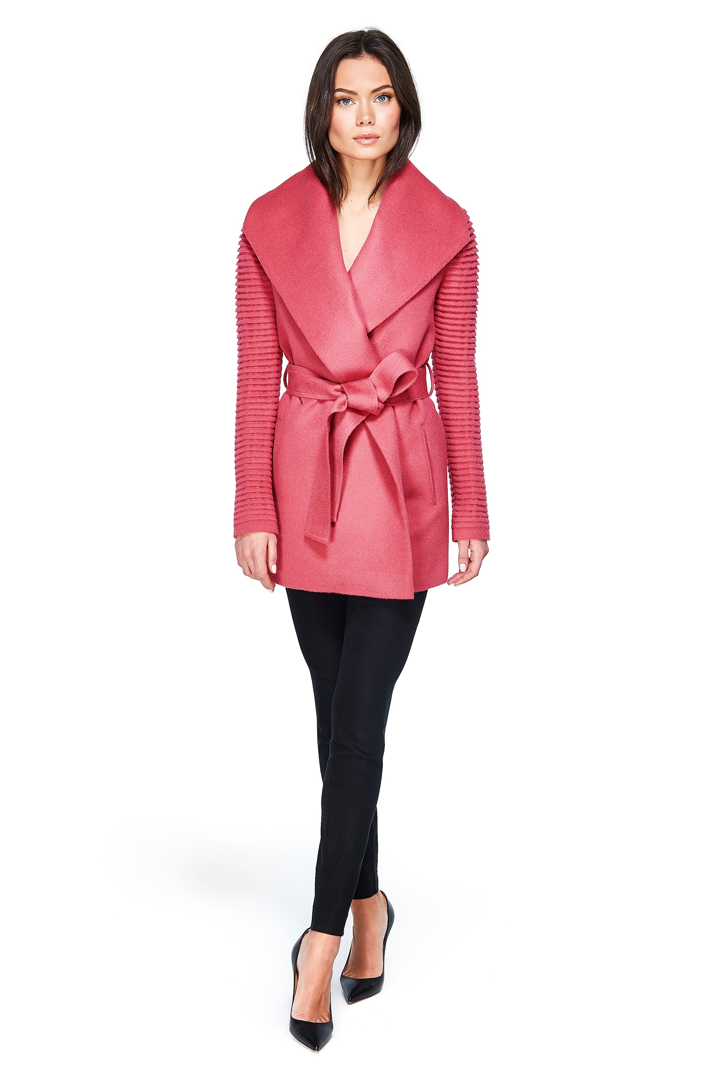 Shawl Collar Wrap Coat with Ribbed Sleeves Tourmaline Pink