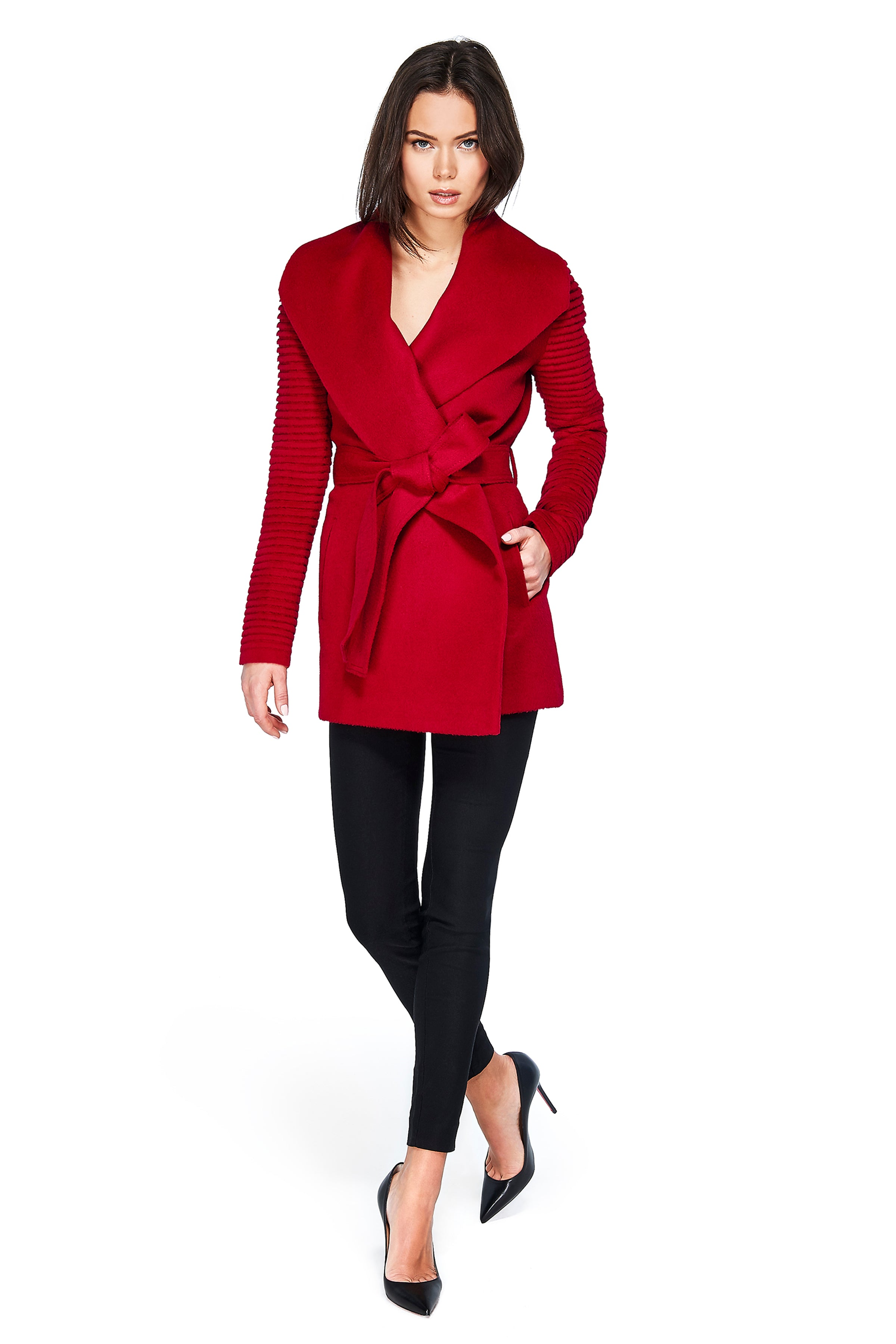 Shawl Collar Wrap Coat with Ribbed Sleeves Scarlet Red