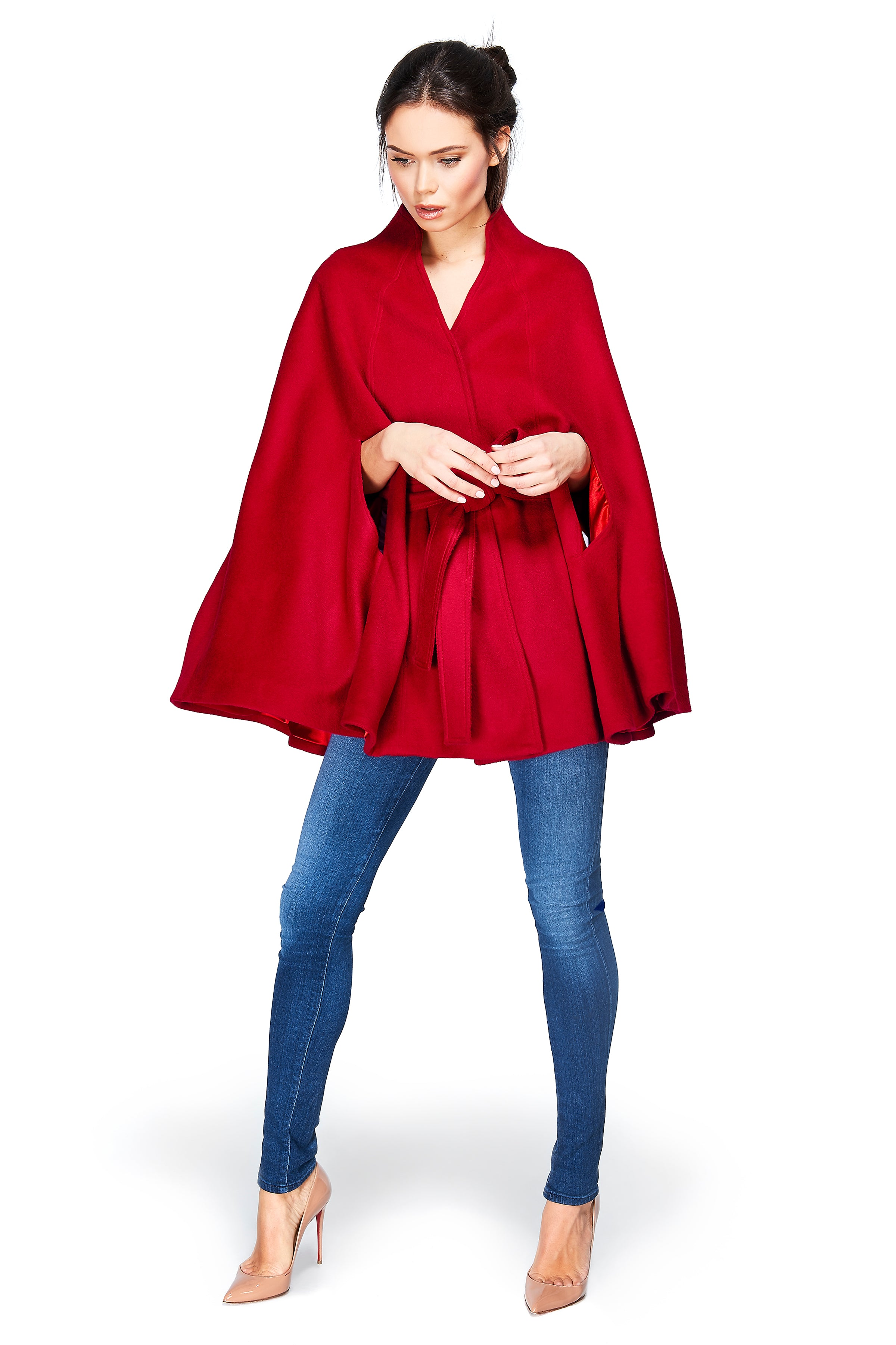 Stand Collar Cape Scarlet Red