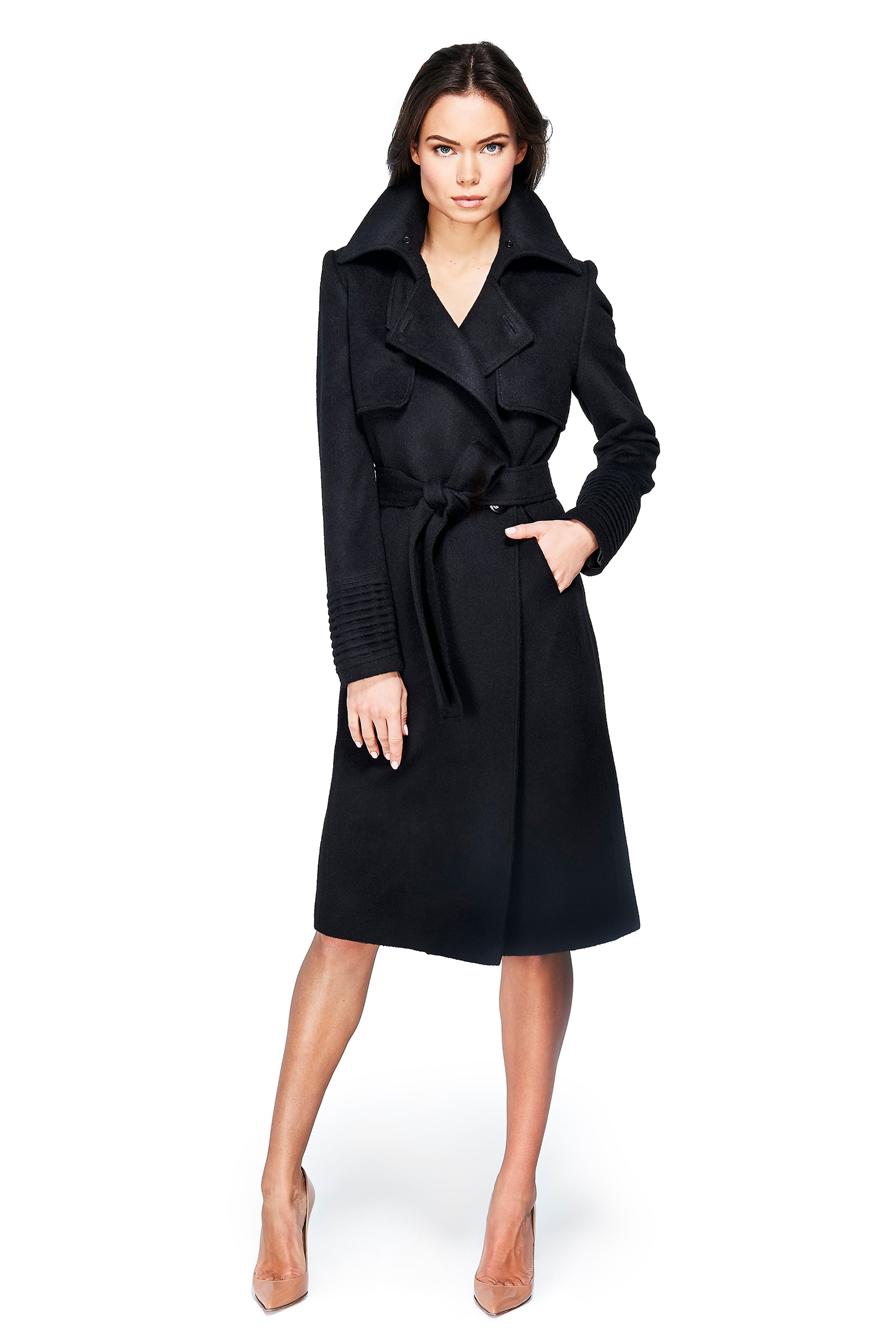Trench Coat with Fur Collar Black