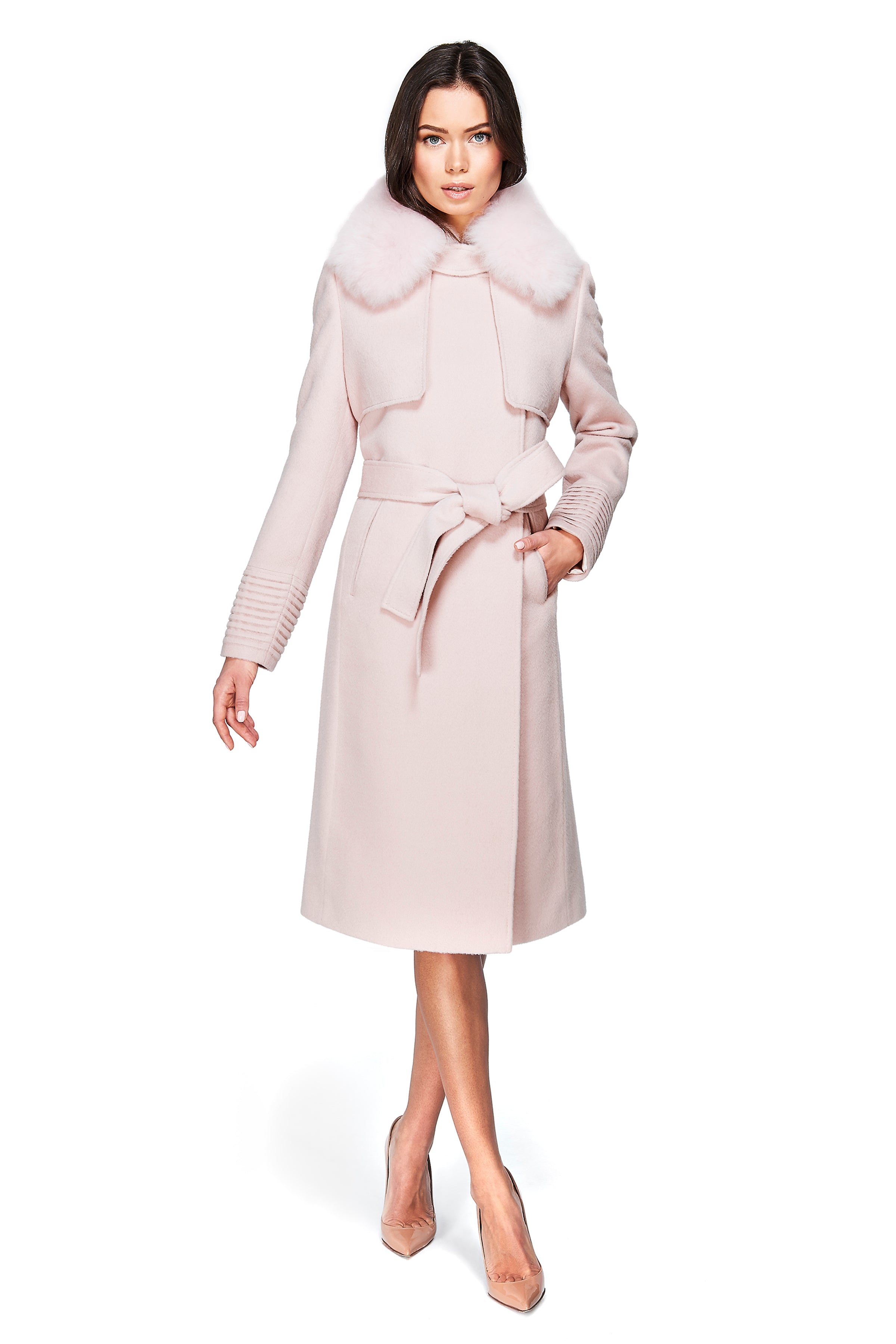 Trench Coat with Fur Blush