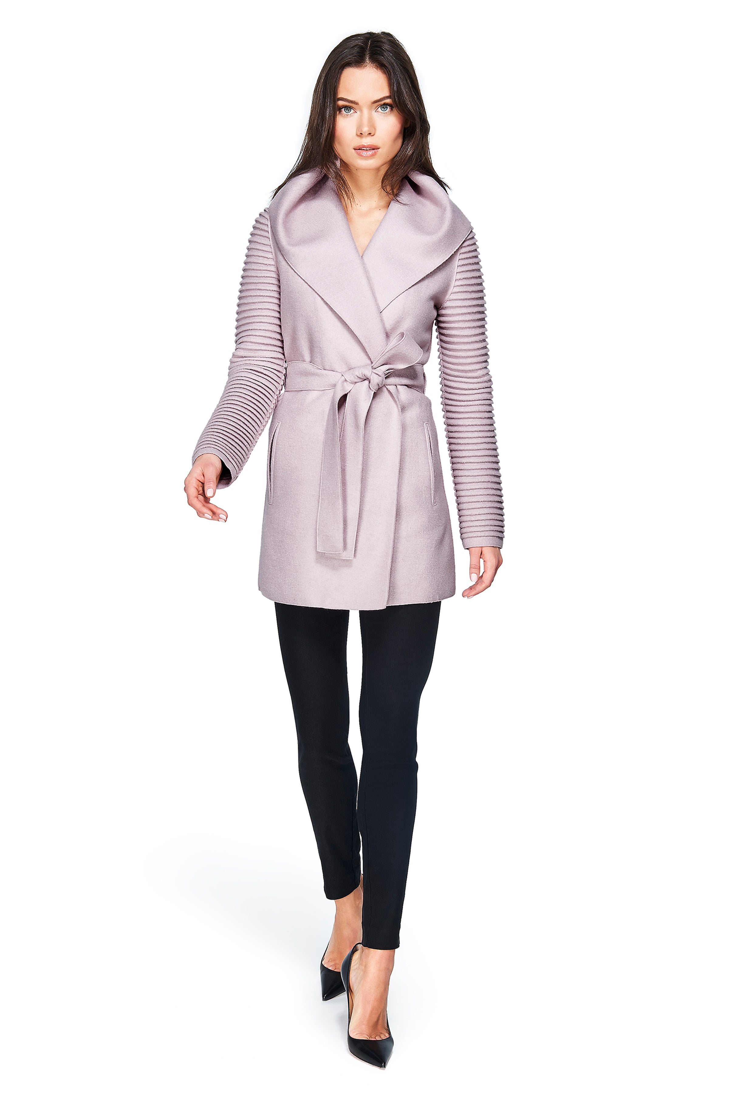 Wrap Coat with Ribbed Sleeves Rose Dust