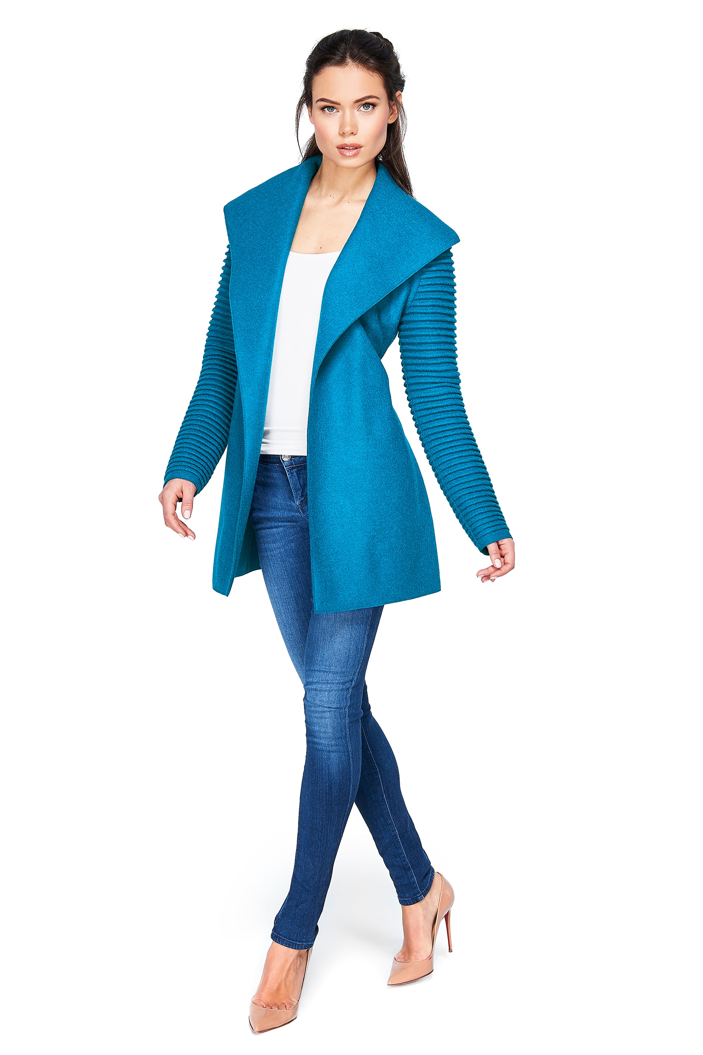 Wrap Coat with Ribbed Sleeves Teal Blue