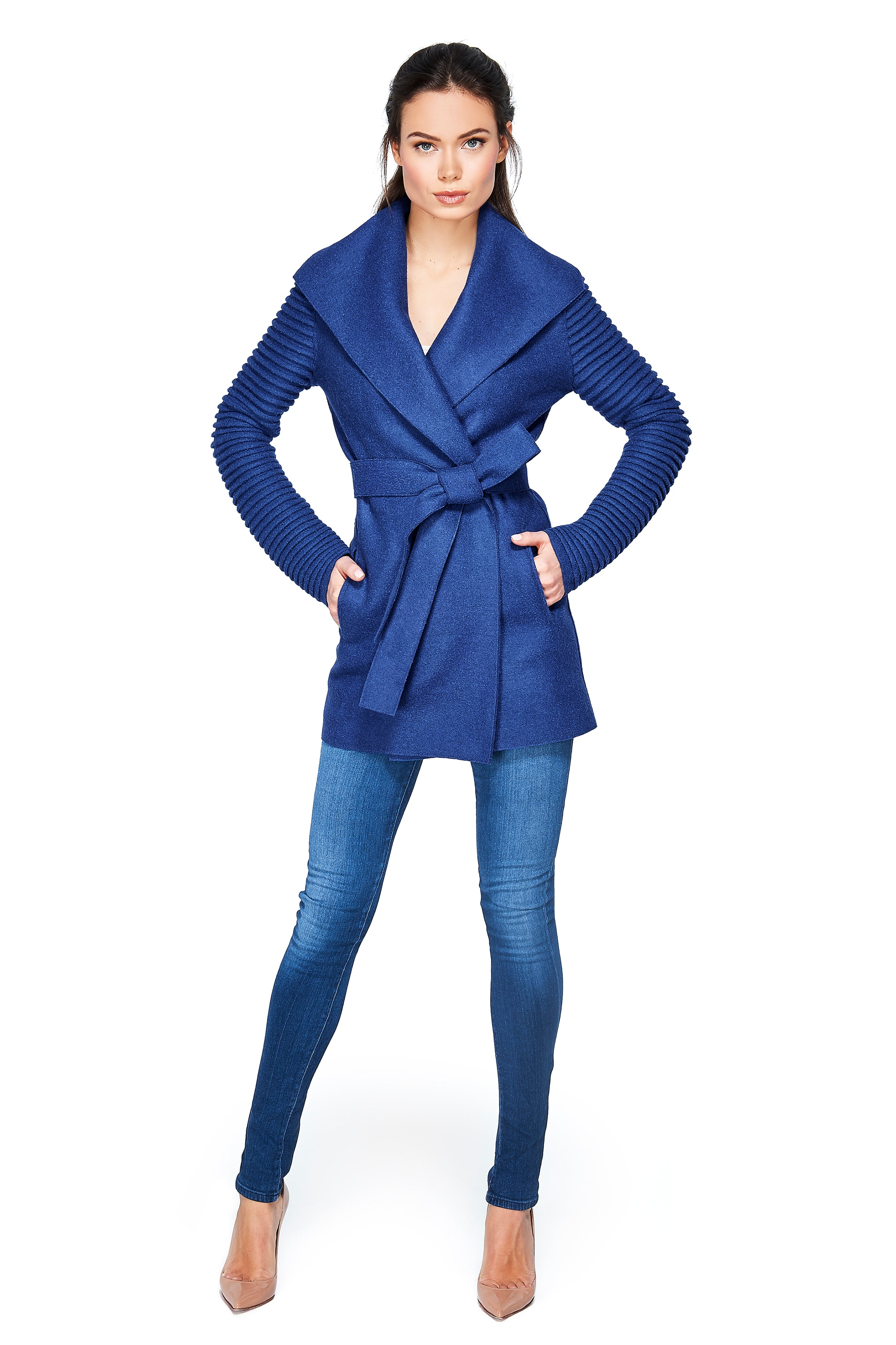 Wrap Coat with Ribbed Sleeves True Blue