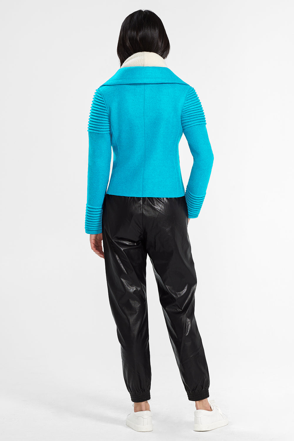 Sentaler Bomber Jacket with Ribbed Shoulders and Cuffs featured in Superfine Alpaca and available in AI Aqua. Seen from back.