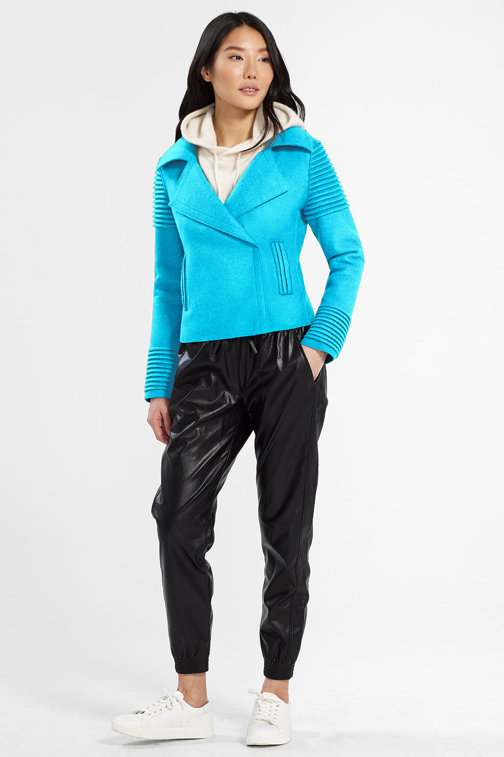 Sentaler Bomber Jacket with Ribbed Shoulders and Cuffs featured in Superfine Alpaca and available in AI Aqua. Seen from front.