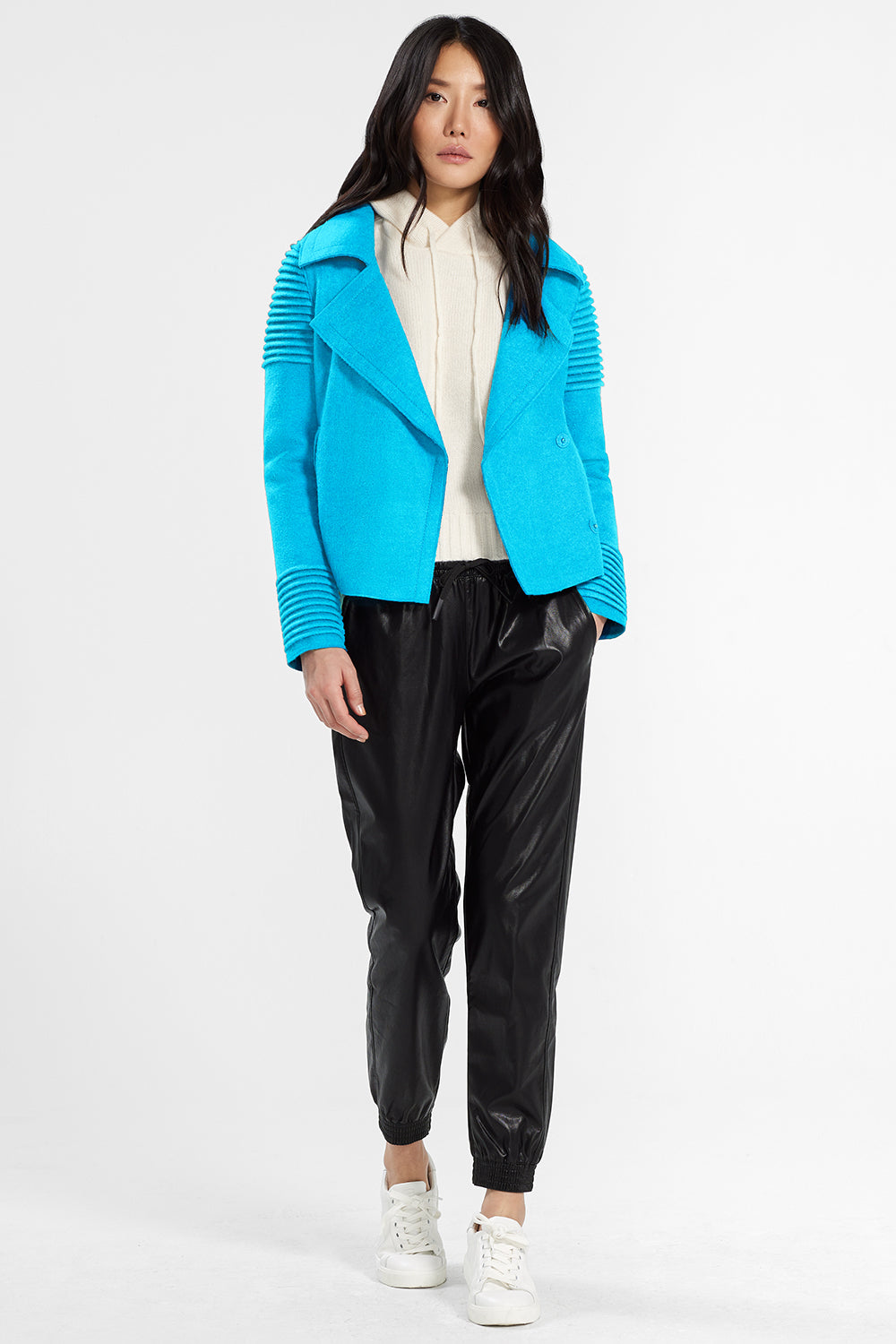 Sentaler Bomber Jacket with Ribbed Shoulders and Cuffs featured in Superfine Alpaca and available in AI Aqua. Seen open.