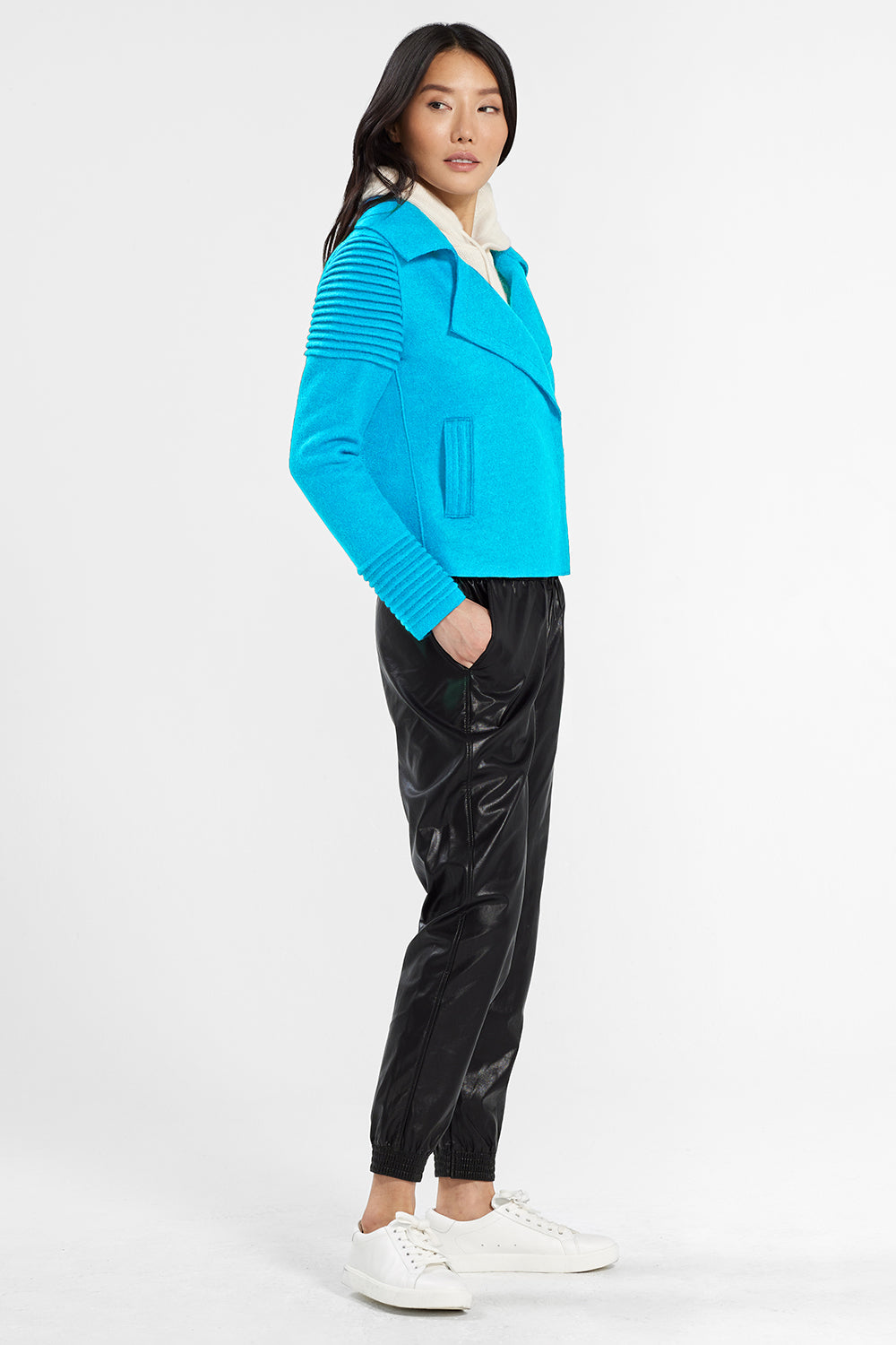 Sentaler Bomber Jacket with Ribbed Shoulders and Cuffs featured in Superfine Alpaca and available in AI Aqua. Seen from side.