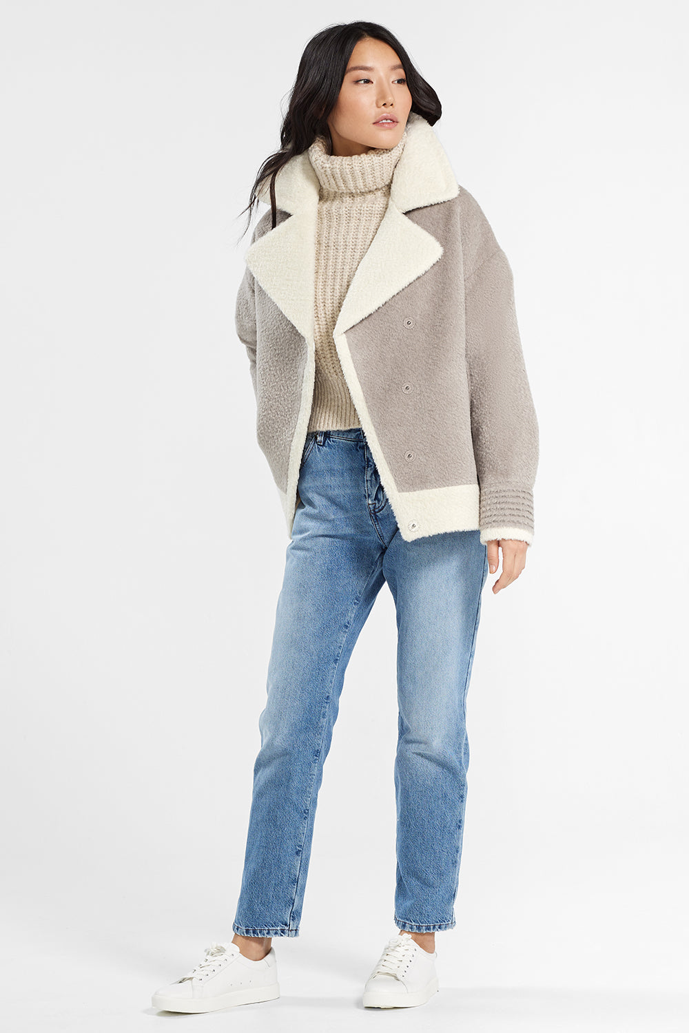 Sentaler Bouclé Alpaca Dropped Shoulder Boyfriend Jacket featured in Bouclé Alpaca and available in Sand. Seen open.