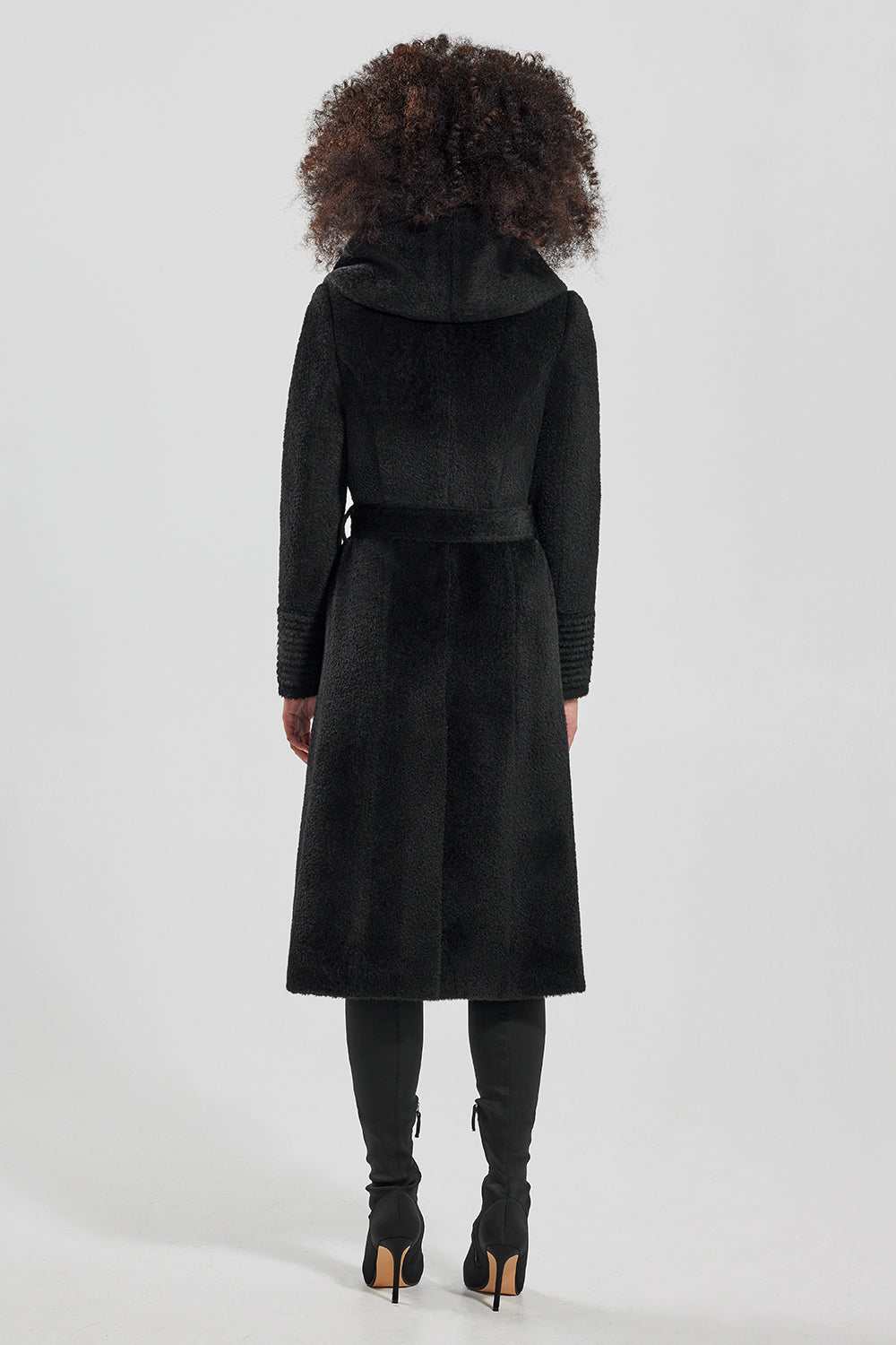 Sentaler Bouclé Alpaca Long Hooded Wrap Coat featured in Bouclé Alpaca and available in Black. Seen from back.