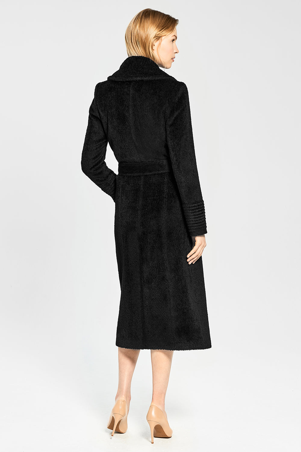 Sentaler Bouclé Alpaca Long Notched Collar Wrap Coat featured in Bouclé Alpaca and available in Black. Seen from back.