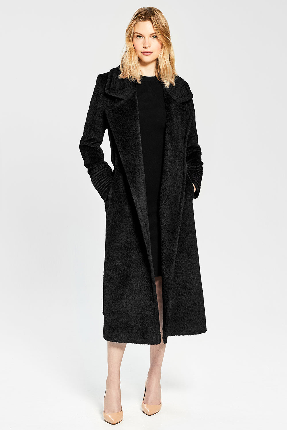 Sentaler Bouclé Alpaca Long Notched Collar Wrap Coat featured in Bouclé Alpaca and available in Black. Seen open.
