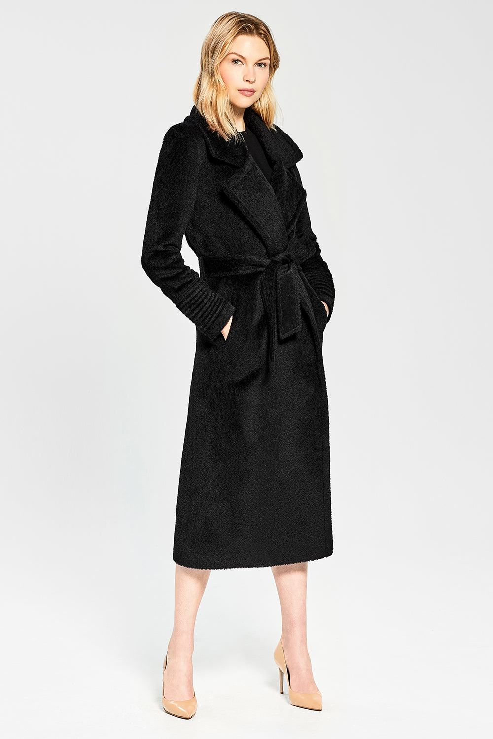 Sentaler Bouclé Alpaca Long Notched Collar Wrap Coat featured in Bouclé Alpaca and available in Black. Seen from side.