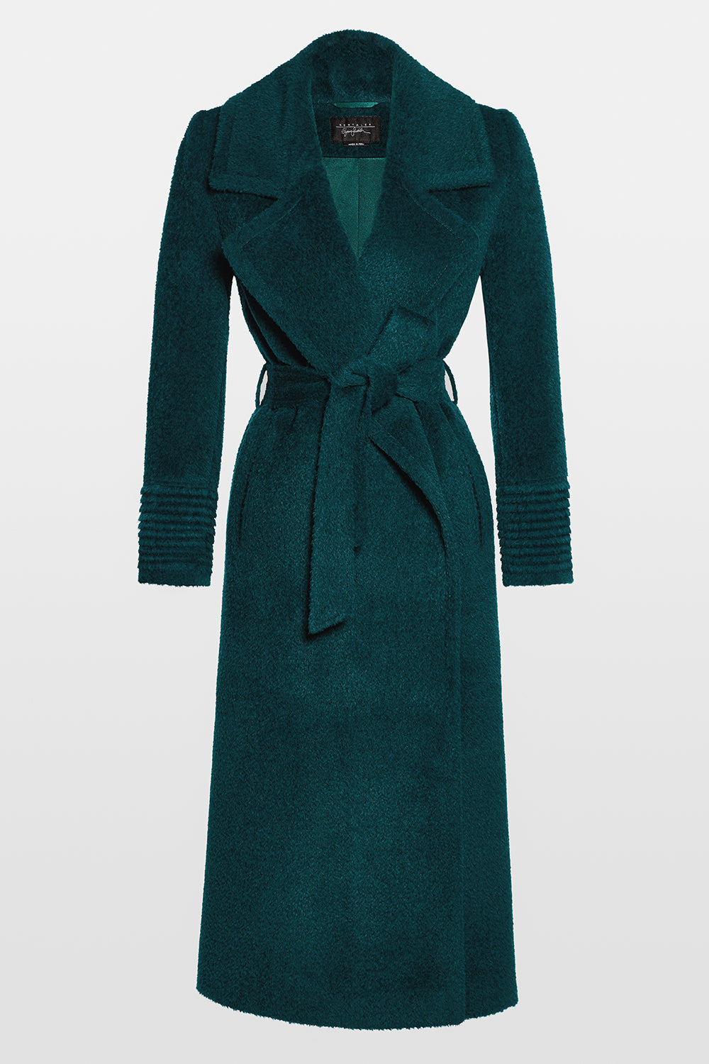 Sentaler Bouclé Alpaca Long Notched Collar Wrap Coat featured in Bouclé Alpaca and available in Emerald Green. Seen off model.